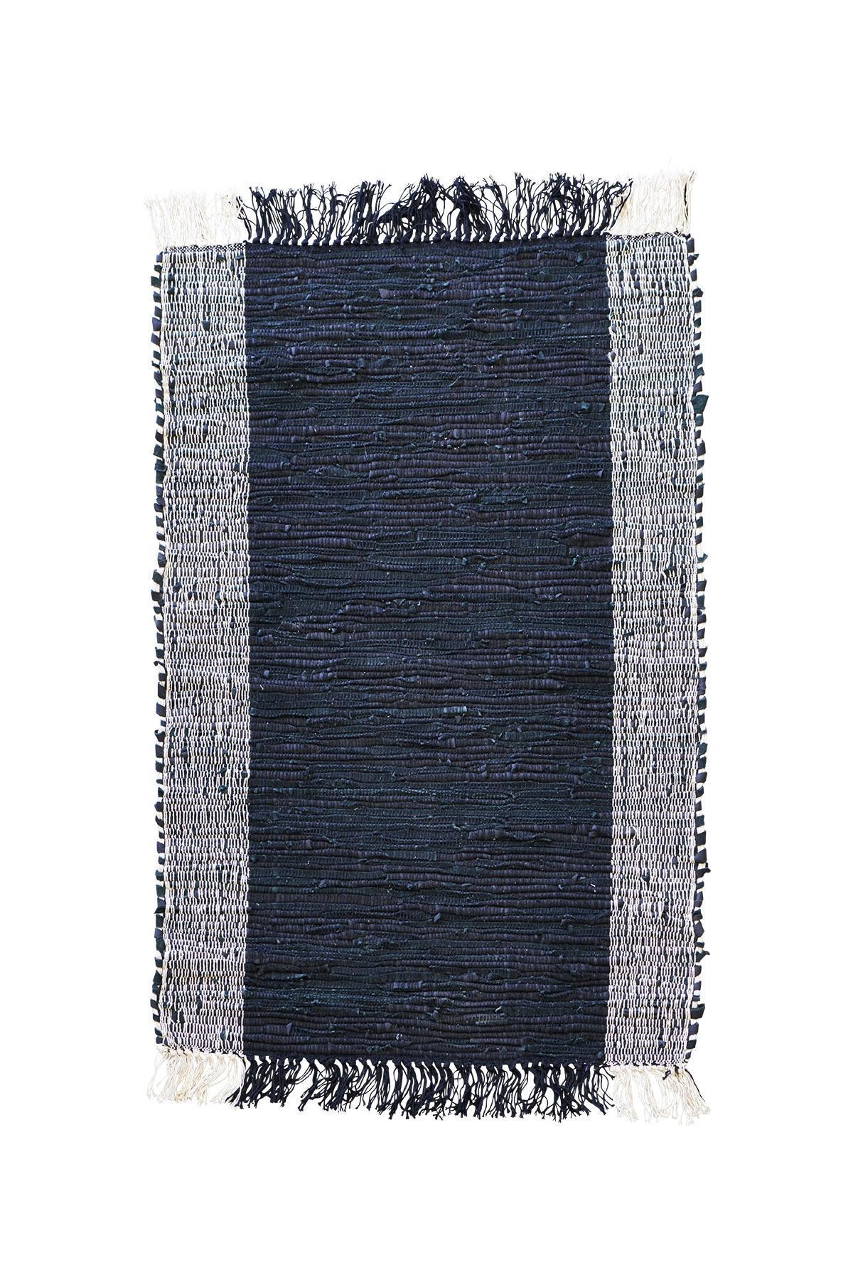 House Doctor Kožený kobereček s bavlnou Cindi 60x90, černá barva, krémová barva, textil, kůže Krémová