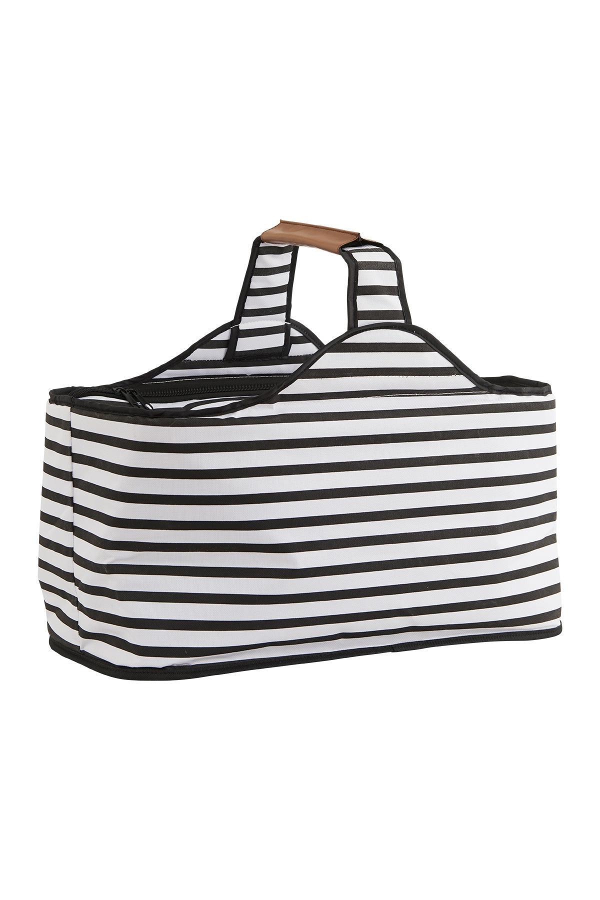 House Doctor Chladící taška Stripes, černá barva, bílá barva, textil