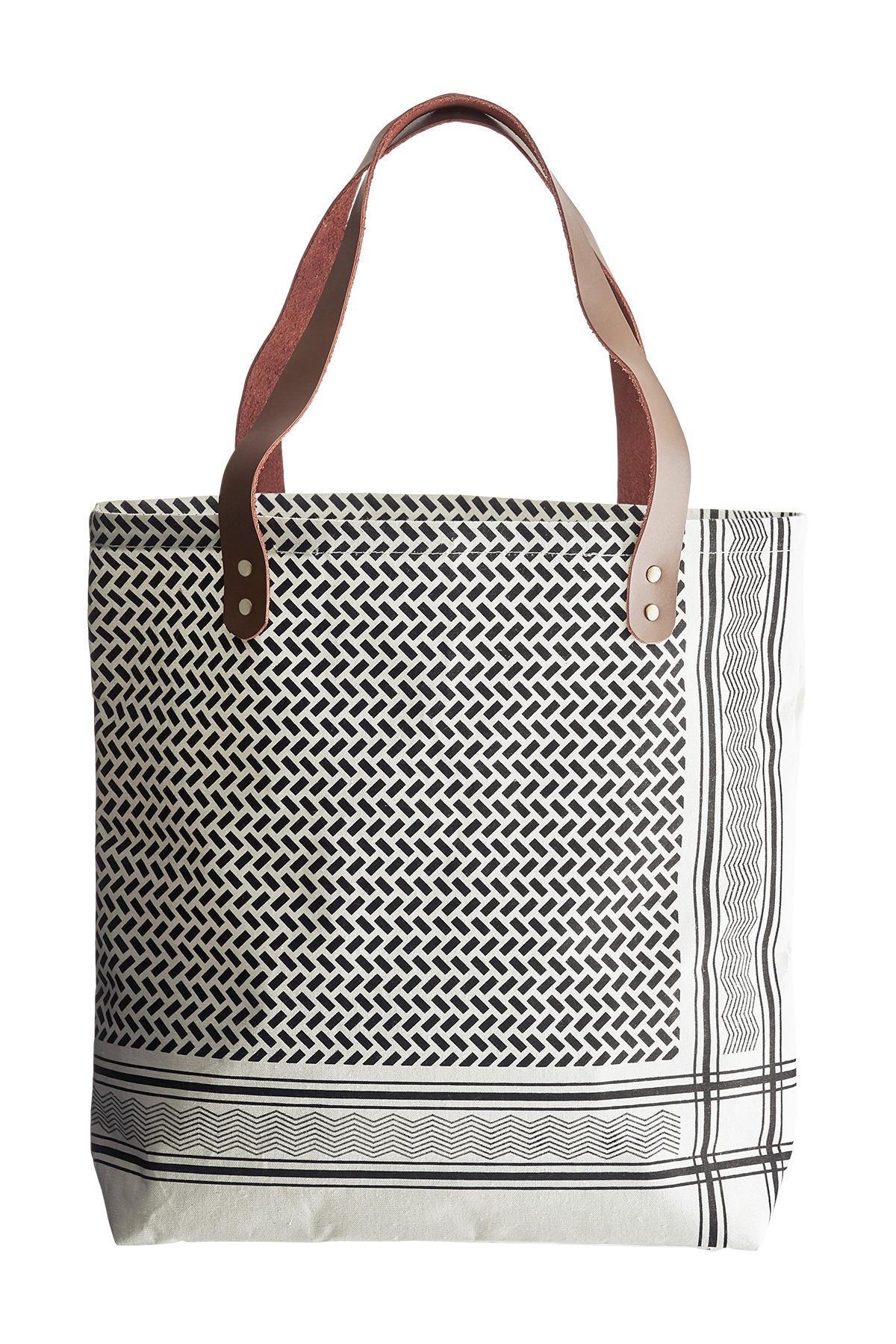House Doctor Nákupní taška Partisan, černá barva, krémová barva, textil
