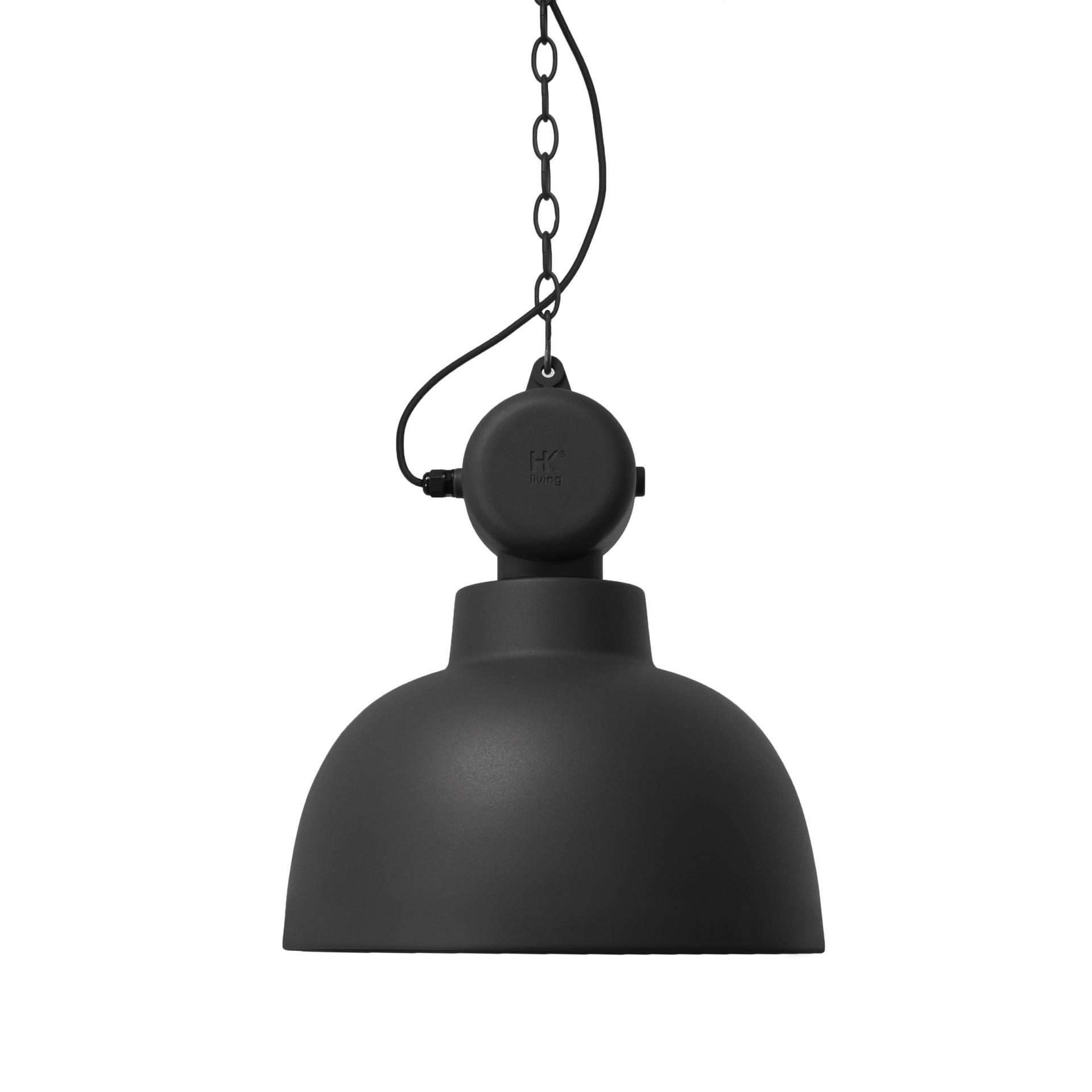 HK living Stropní lampa Factory Design Black Matt, černá barva, kov