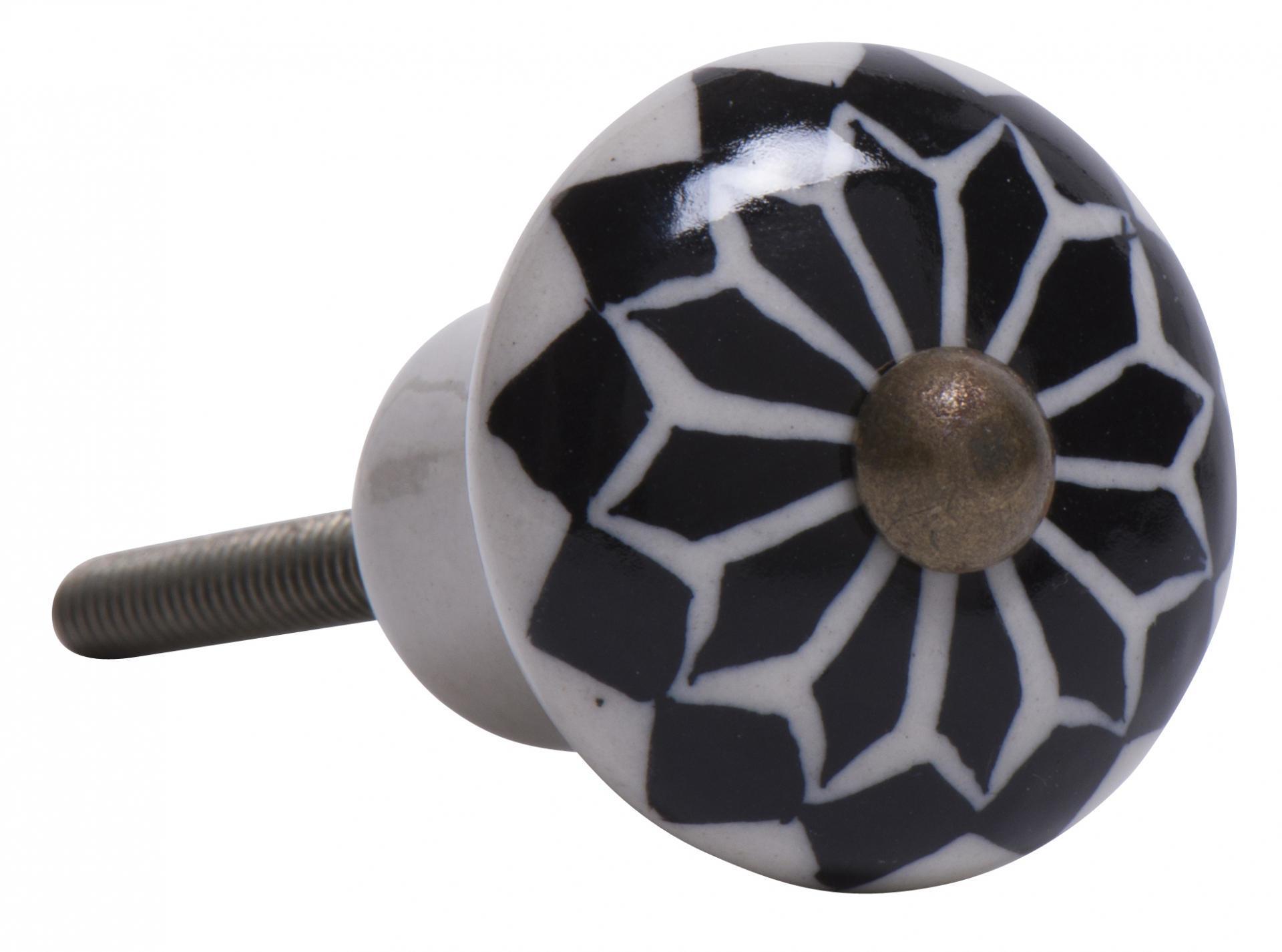 IB LAURSEN Porcelánová úchytka Diamond, černá barva, porcelán