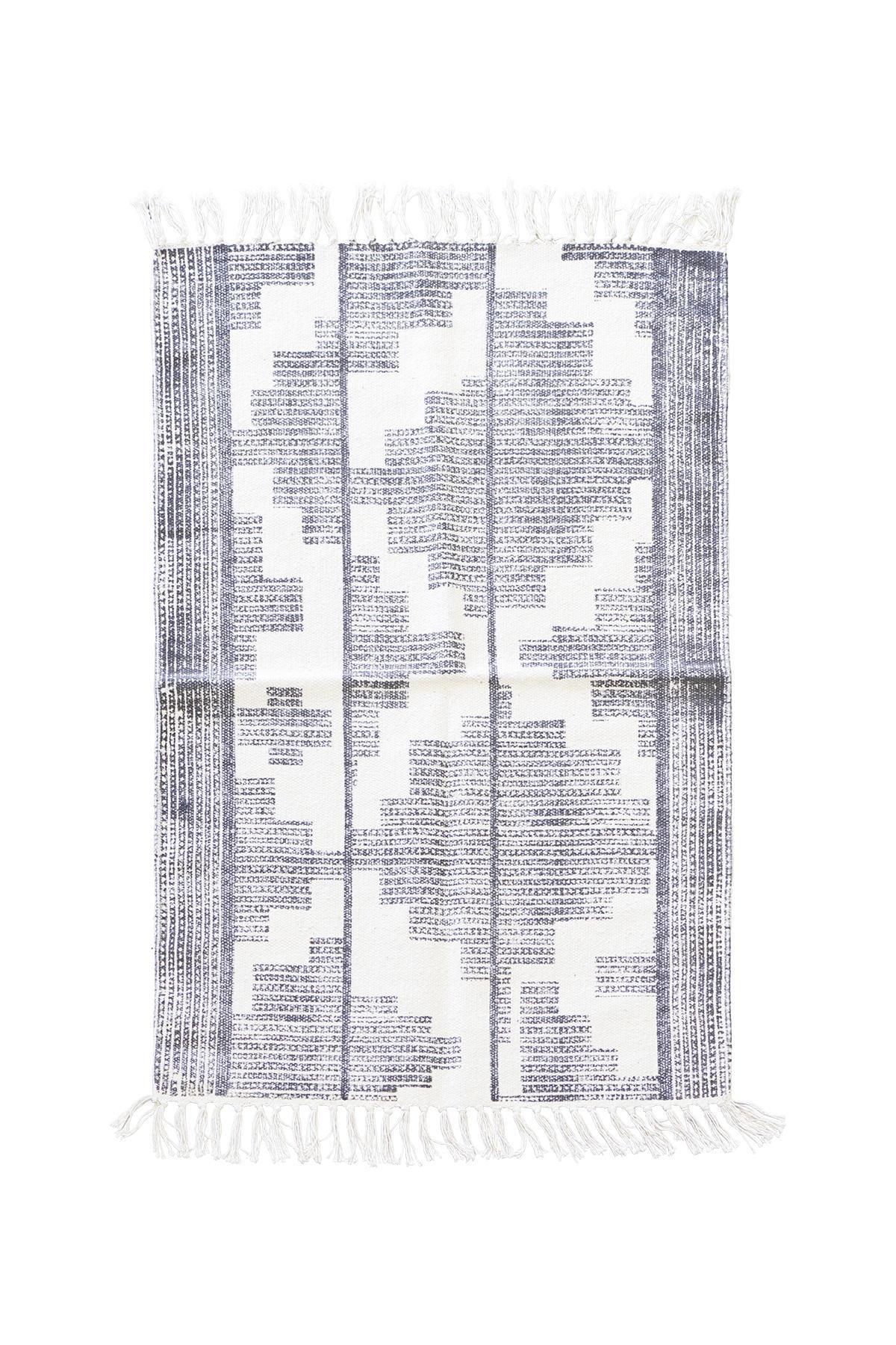 house doctor Koberec Eve 90x200 cm, černá barva, bílá barva, textil Bílá
