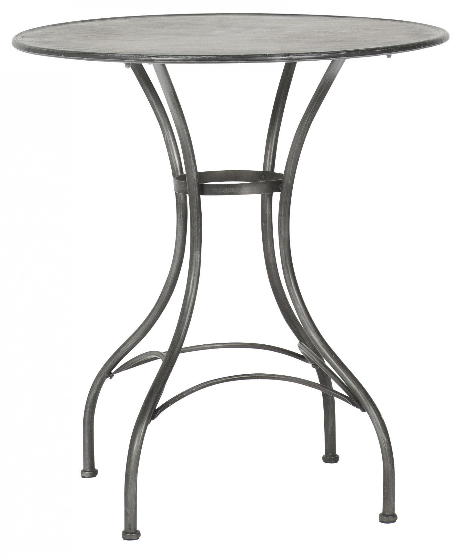 IB LAURSEN Kulatý kovový stolek Grey, šedá barva, černá barva, kov