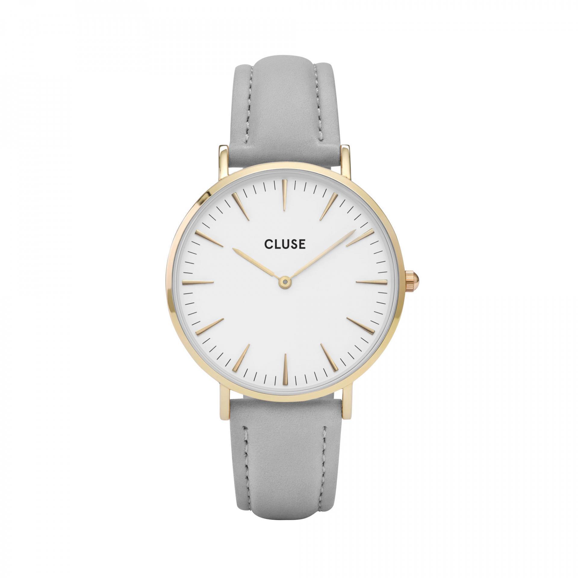 CLUSE Hodinky Cluse La Bohéme Gold white/grey, šedá barva, bílá barva, sklo, kov, kůže