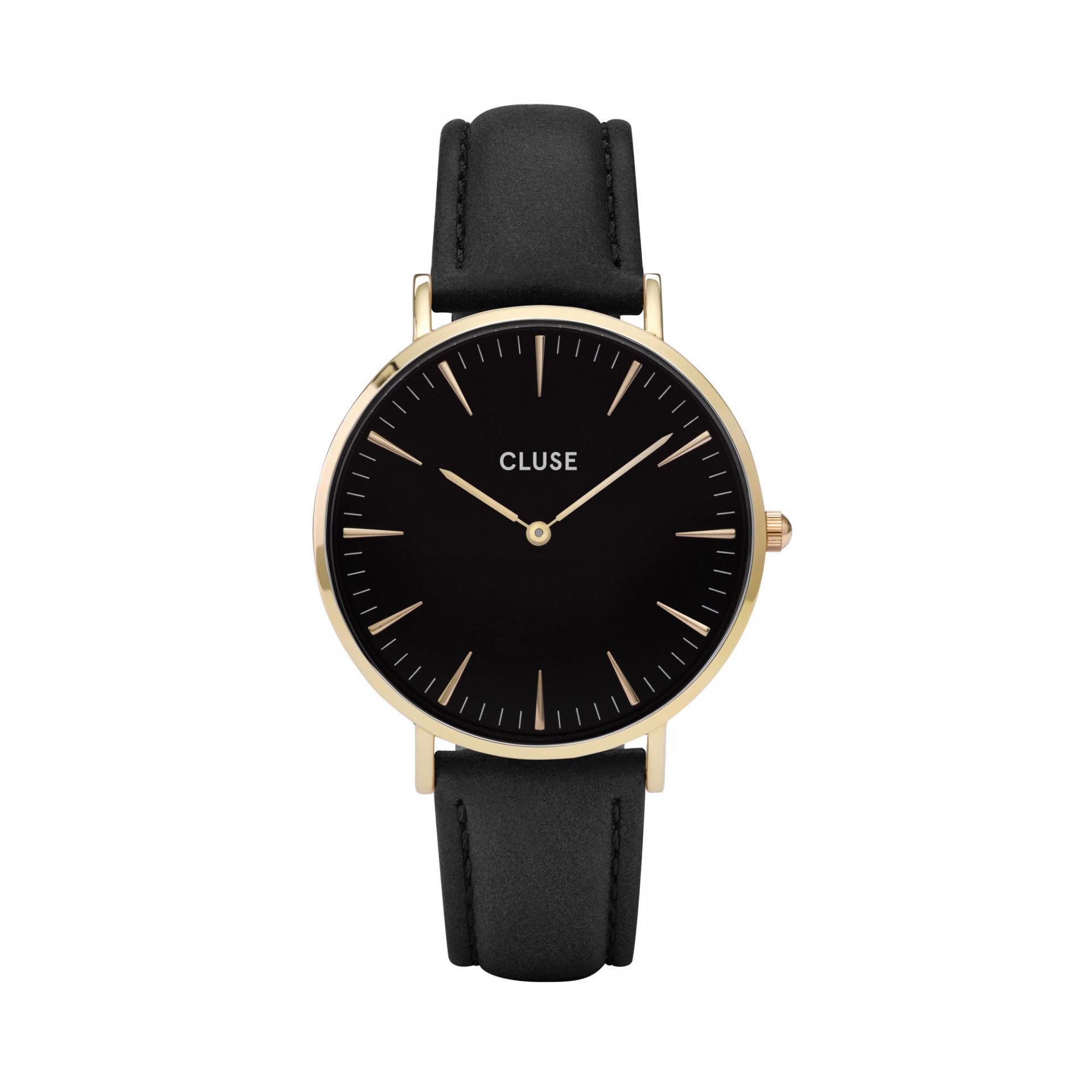 CLUSE Hodinky Cluse La Bohéme Gold black/black, černá barva, sklo, kov, kůže