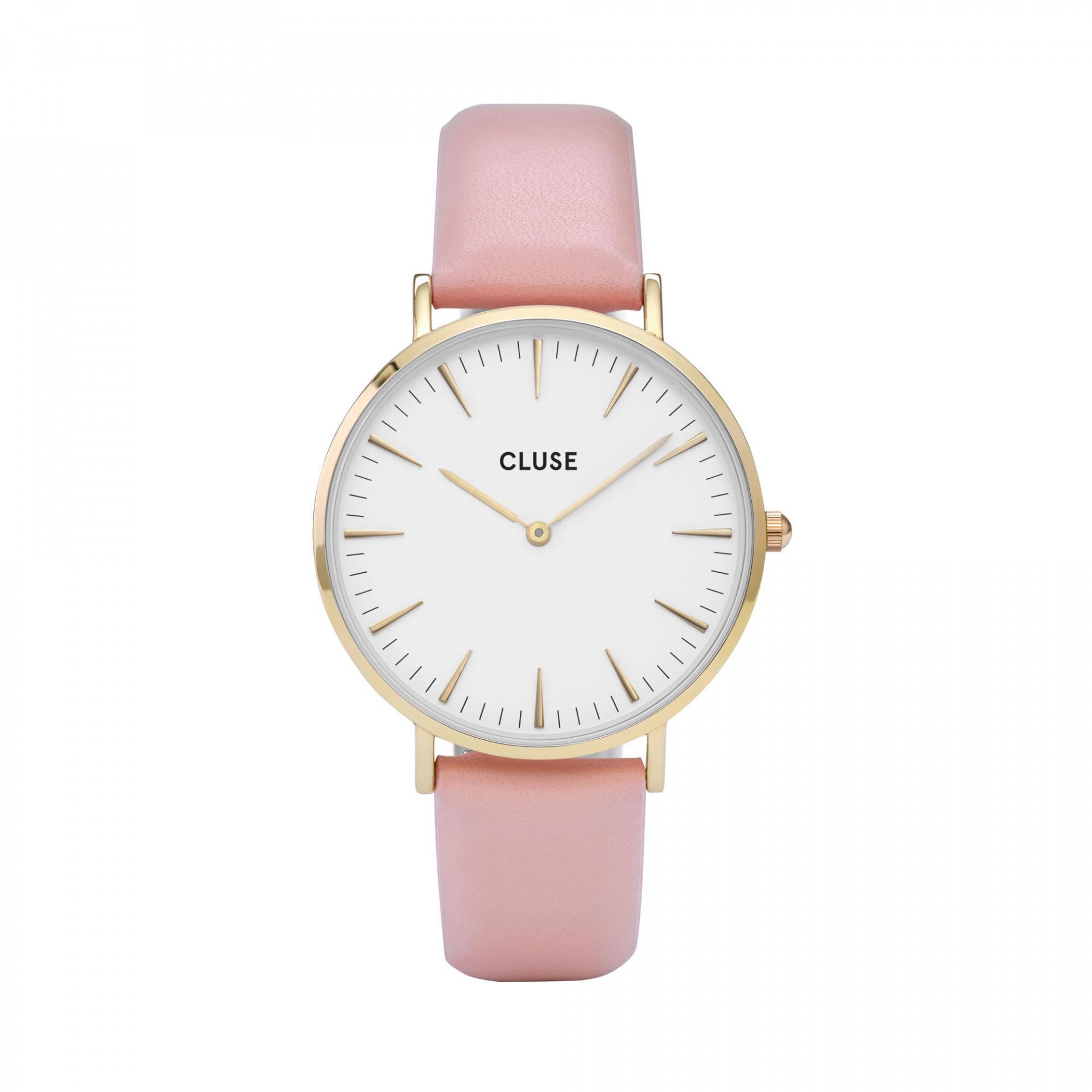 CLUSE Hodinky Cluse La Bohéme Gold white/pink, růžová barva, bílá barva, sklo, kov, kůže