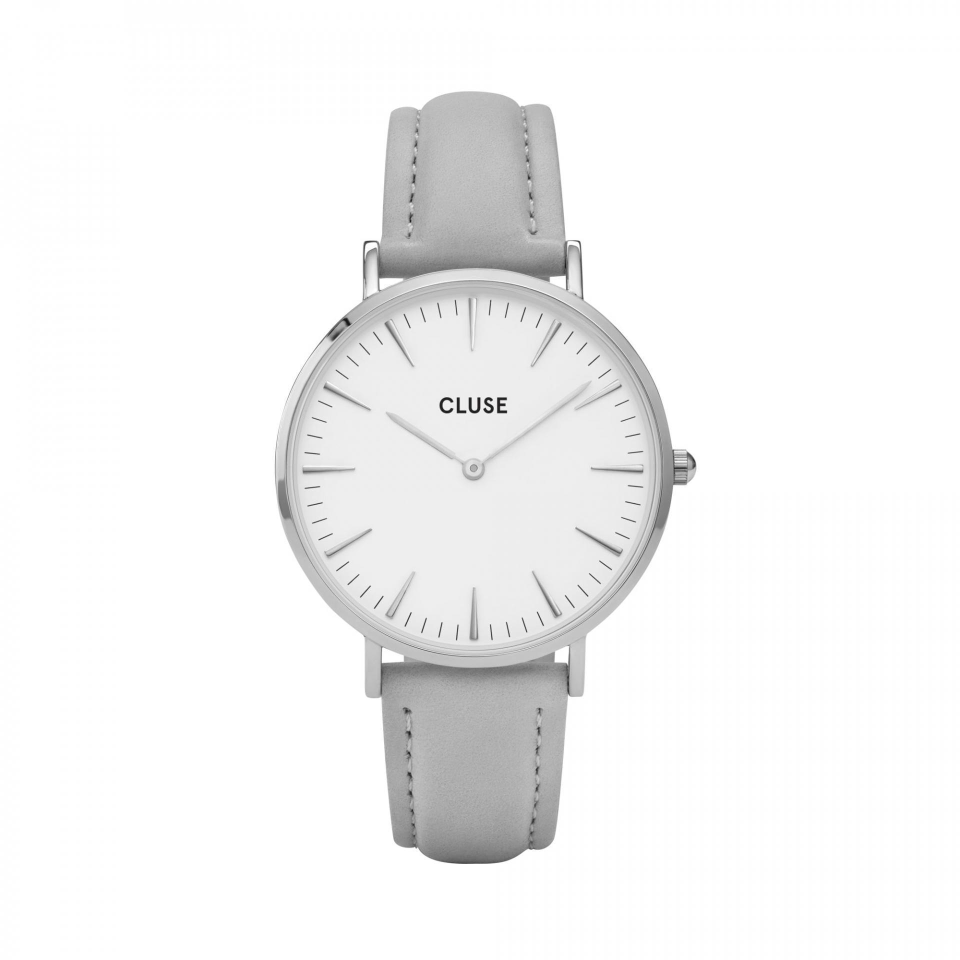 CLUSE Hodinky Cluse La Bohéme Silver white/grey, šedá barva, bílá barva, sklo, kov, kůže