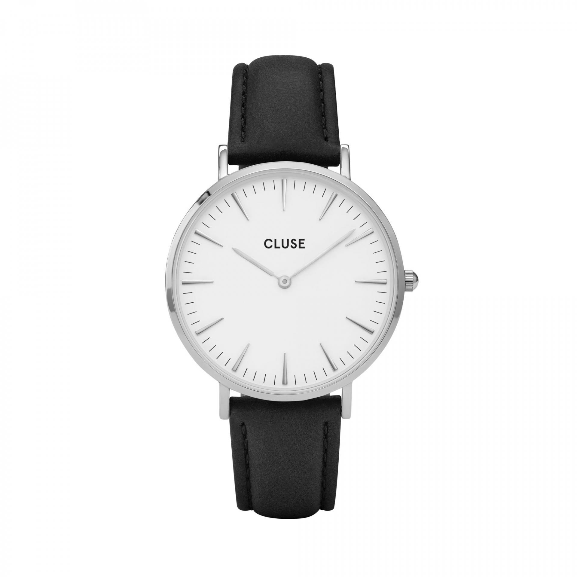 CLUSE Hodinky Cluse La Bohéme Silver white/black, černá barva, bílá barva, sklo, kov, kůže