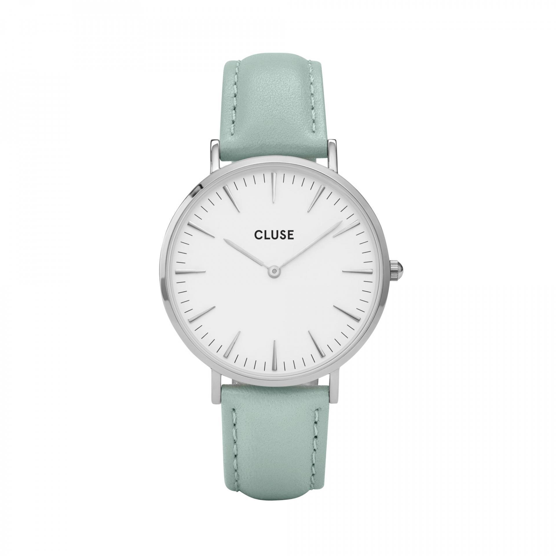 CLUSE Hodinky Cluse La Bohéme Silver white/pastel mint, modrá barva, zelená barva, bílá barva, sklo, kov, kůže