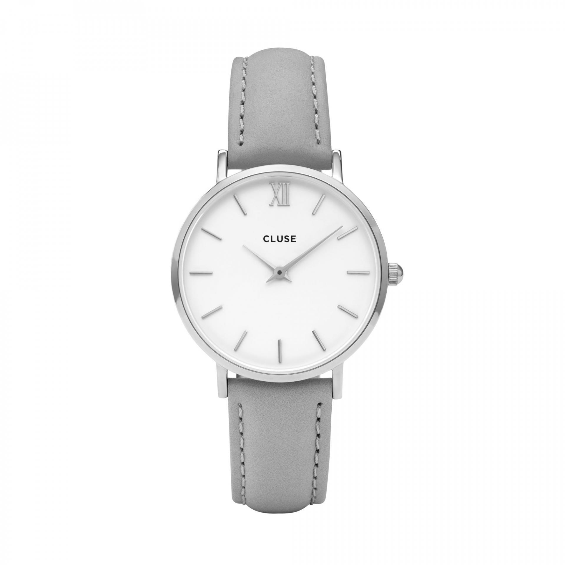 CLUSE Hodinky Cluse Minuit Silver white/grey, šedá barva, bílá barva, sklo, kov, kůže