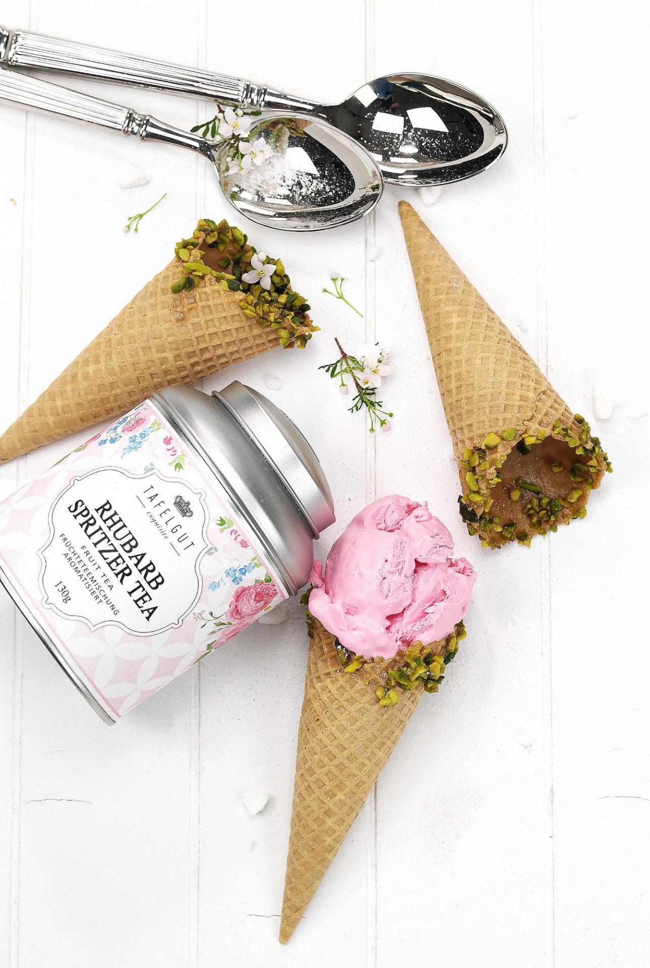 TAFELGUT Ovocný čaj Rhubarb spritzer tea - 130gr, růžová barva