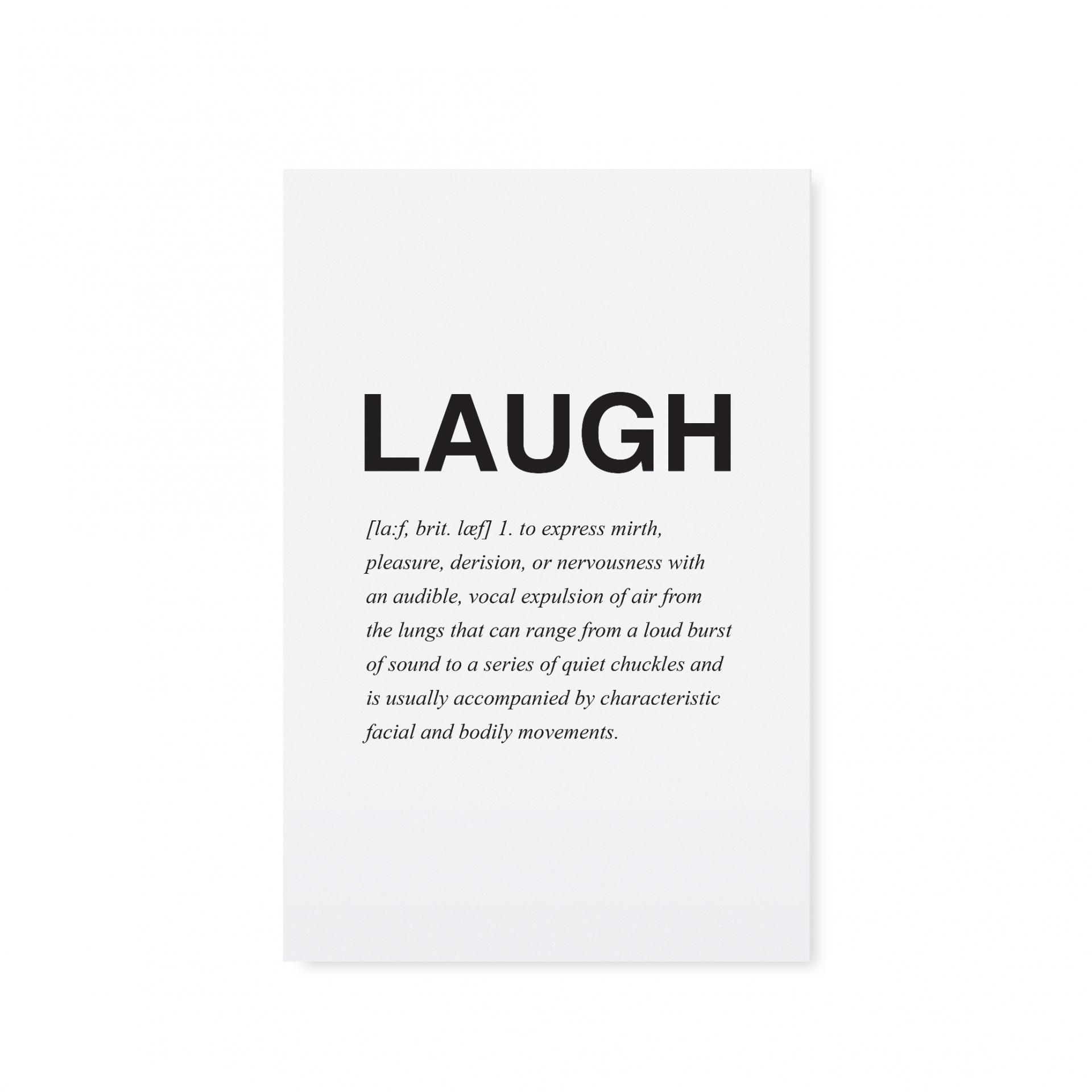 TAFELGUT Pohlednice Laugh, černá barva, bílá barva, papír