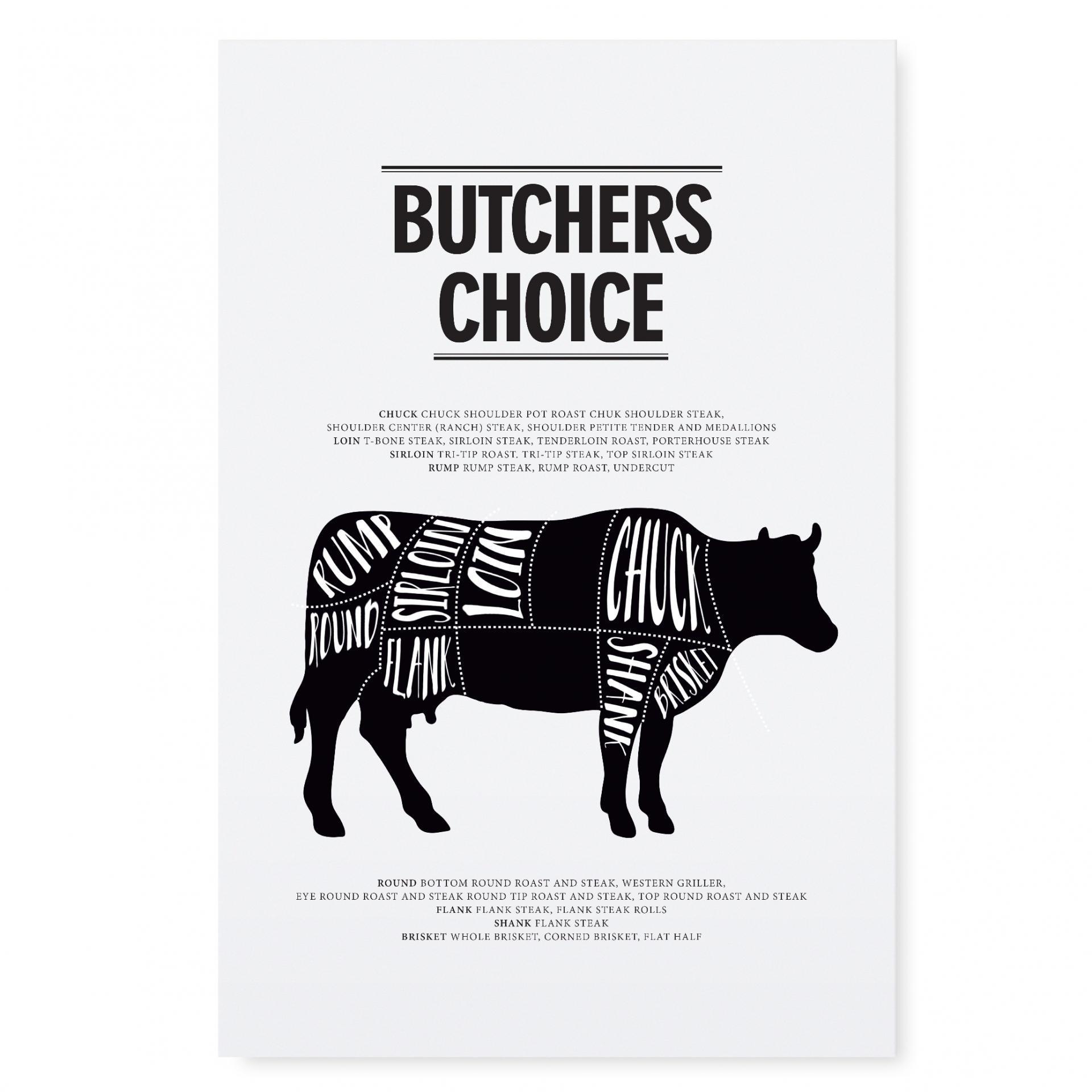 TAFELGUT Plakát Butchers choice 30x42, černá barva, bílá barva, papír