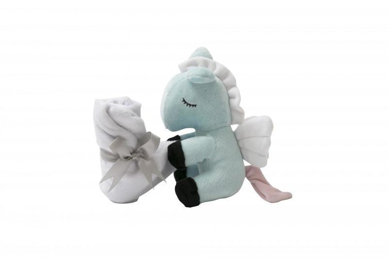 miniroom Plyšový koník s křídly a dečkou Little Horse, modrá barva, textil