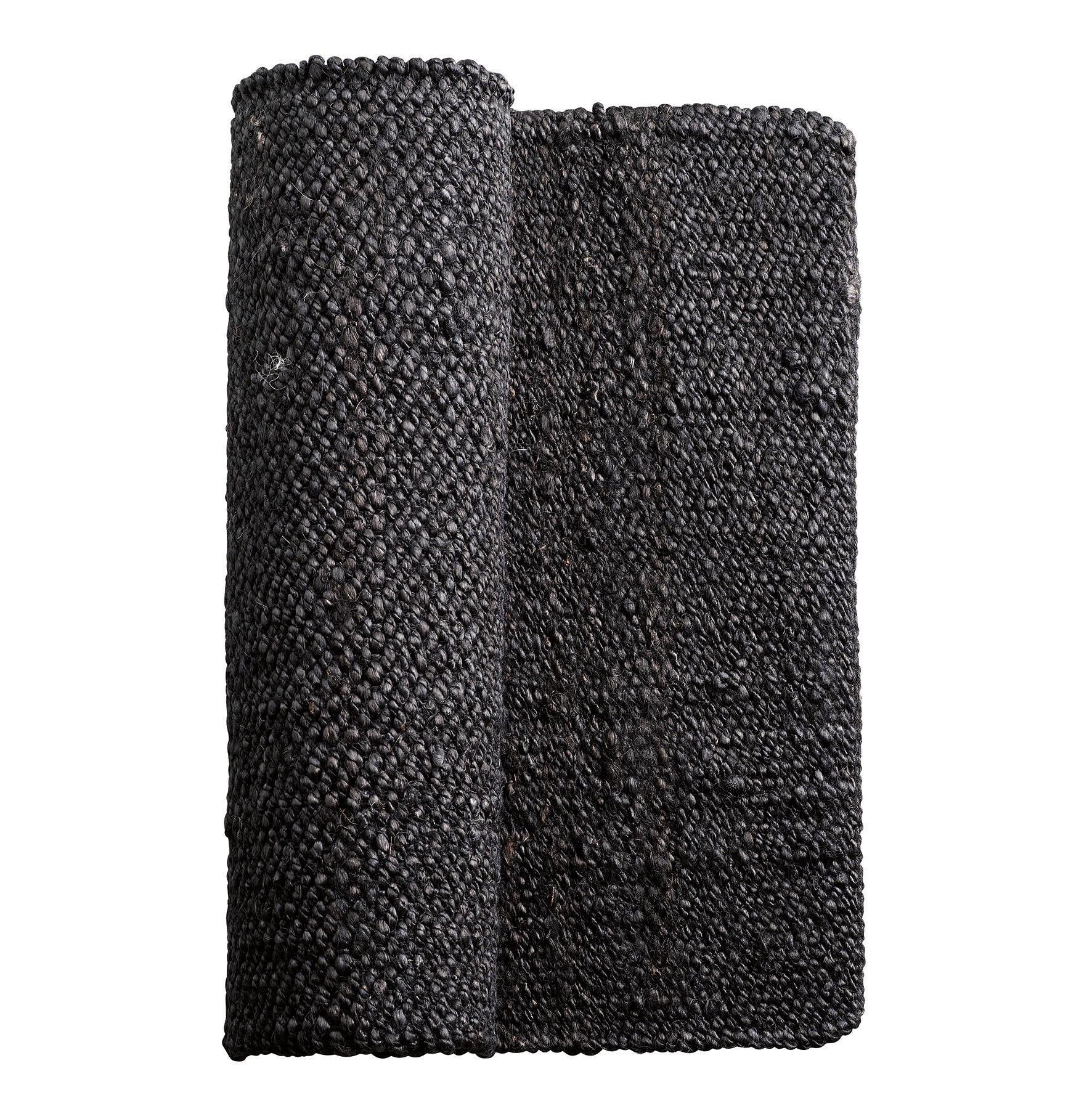tineKhome Jutový koberec Soil 80x250 cm, černá barva, textil Černá