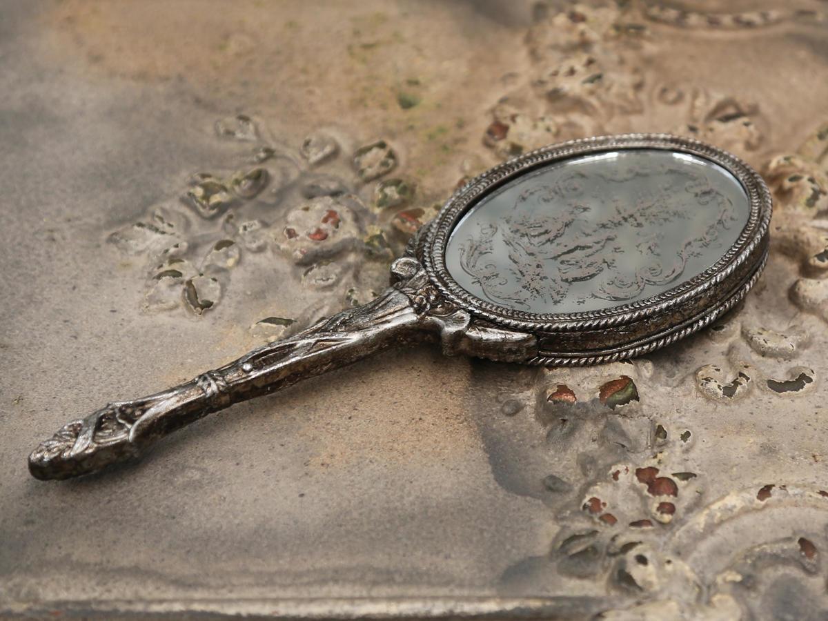 Chic Antique Dekorativní zrcátko Antique silver Print, stříbrná barva, sklo, plast