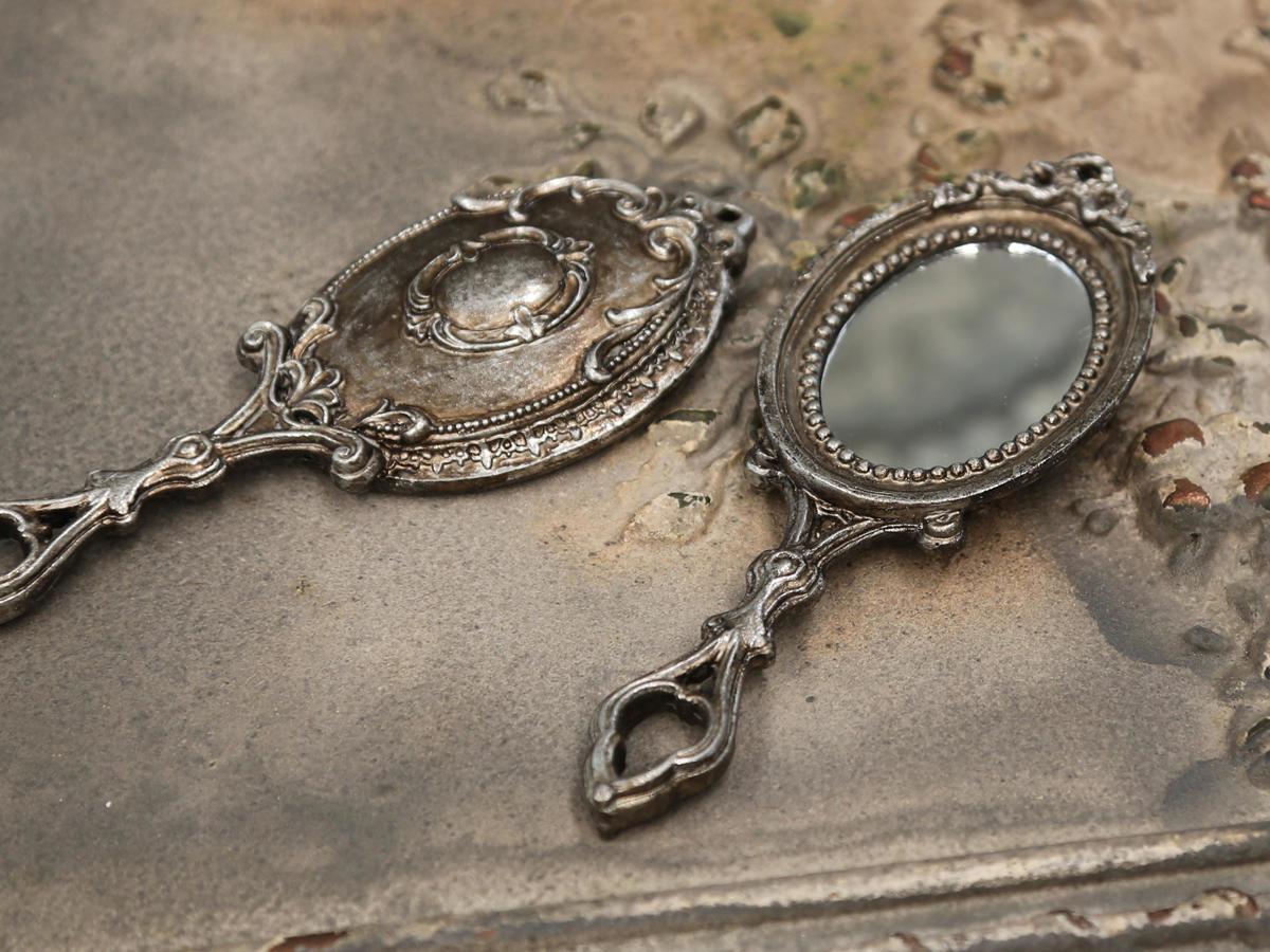 Chic Antique Dekorativní zrcátko Antique silver, stříbrná barva, sklo, plast