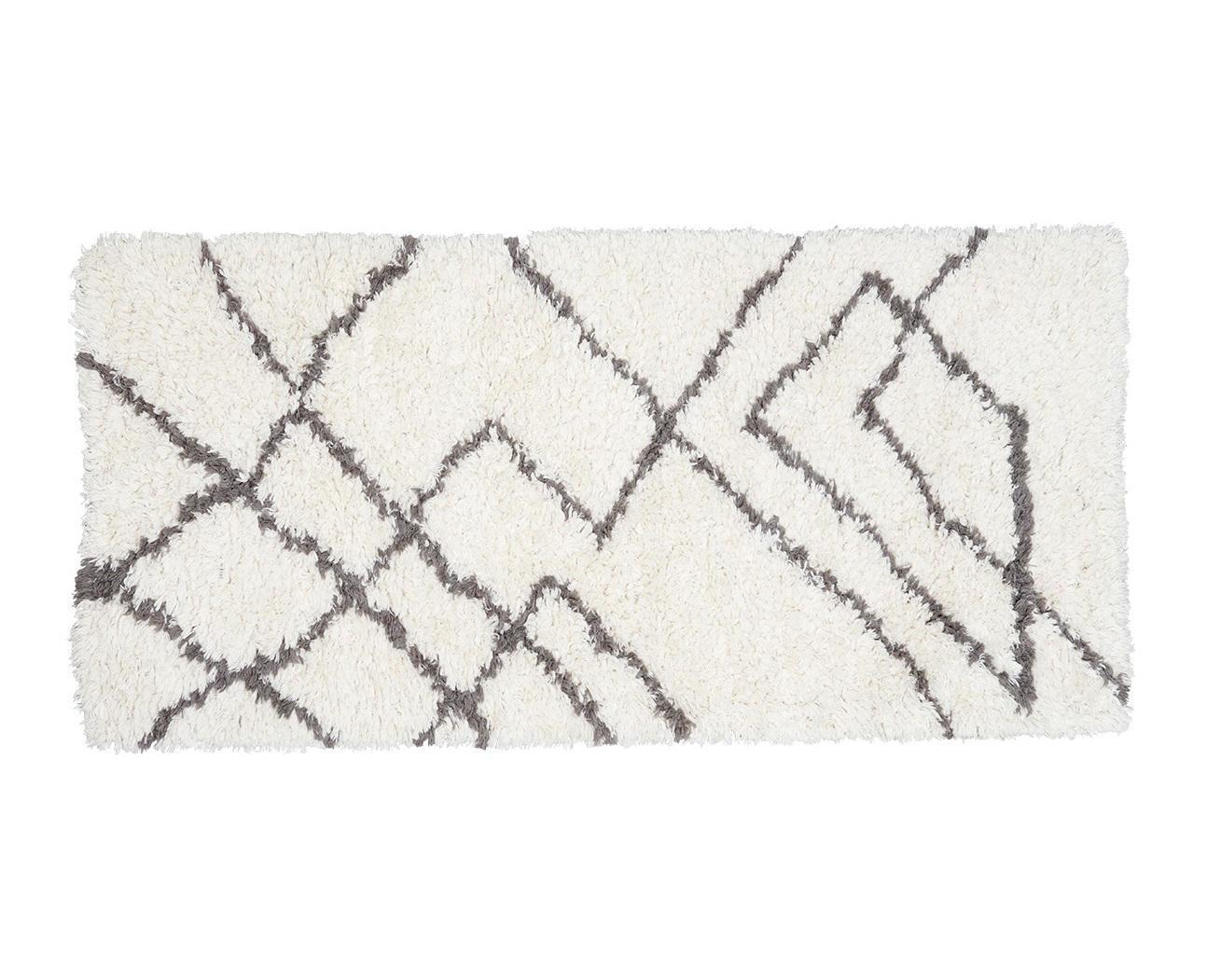 House Doctor Vlněný koberec Ribas Ivory 90x200 cm, šedá barva, krémová barva, textil