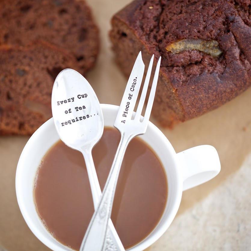 La de da! Living Postříbřený set lžičky a vidličky Cup of tea, stříbrná barva, kov
