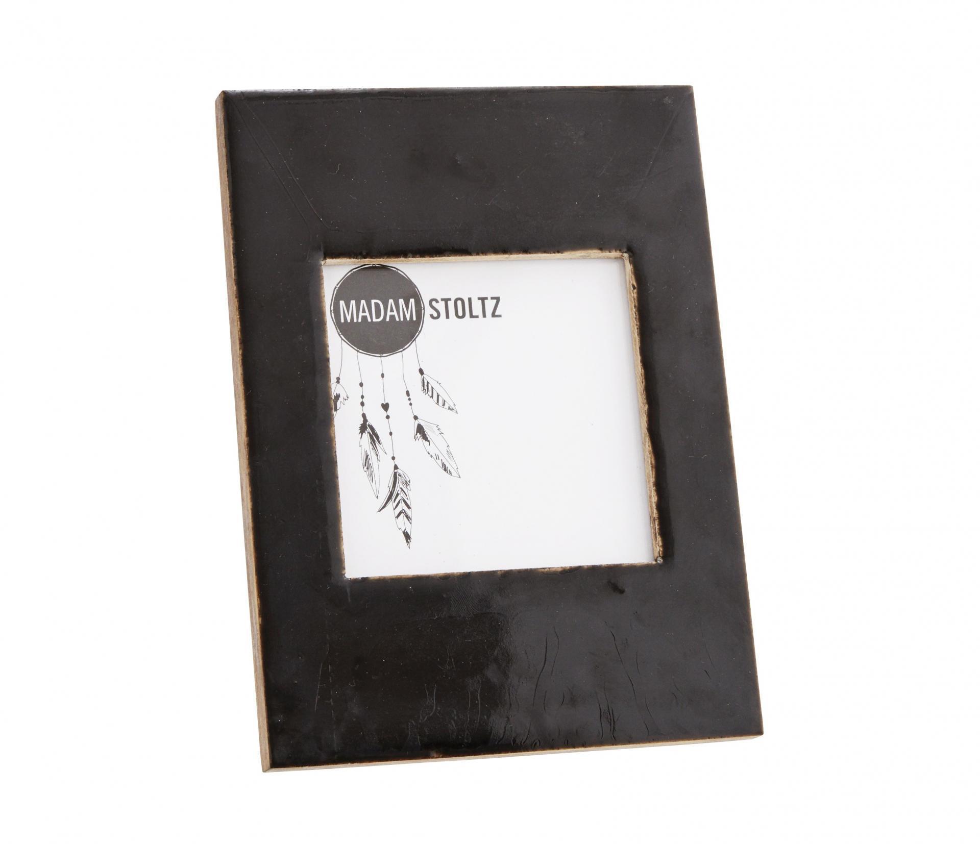 MADAM STOLTZ Dřevěný fotorámeček s opěrkou Shiny Black - menší, černá barva, sklo, dřevo