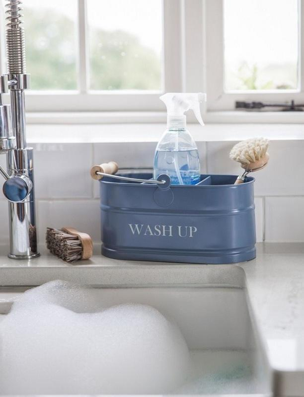 Garden Trading Plechový box Wash up - Dorset blue, modrá barva, kov
