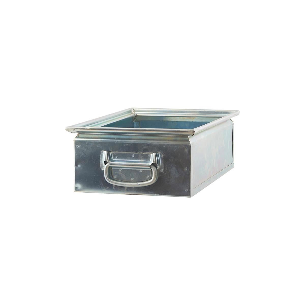 House Doctor Ocelový úložný box Zinc, stříbrná barva, kov