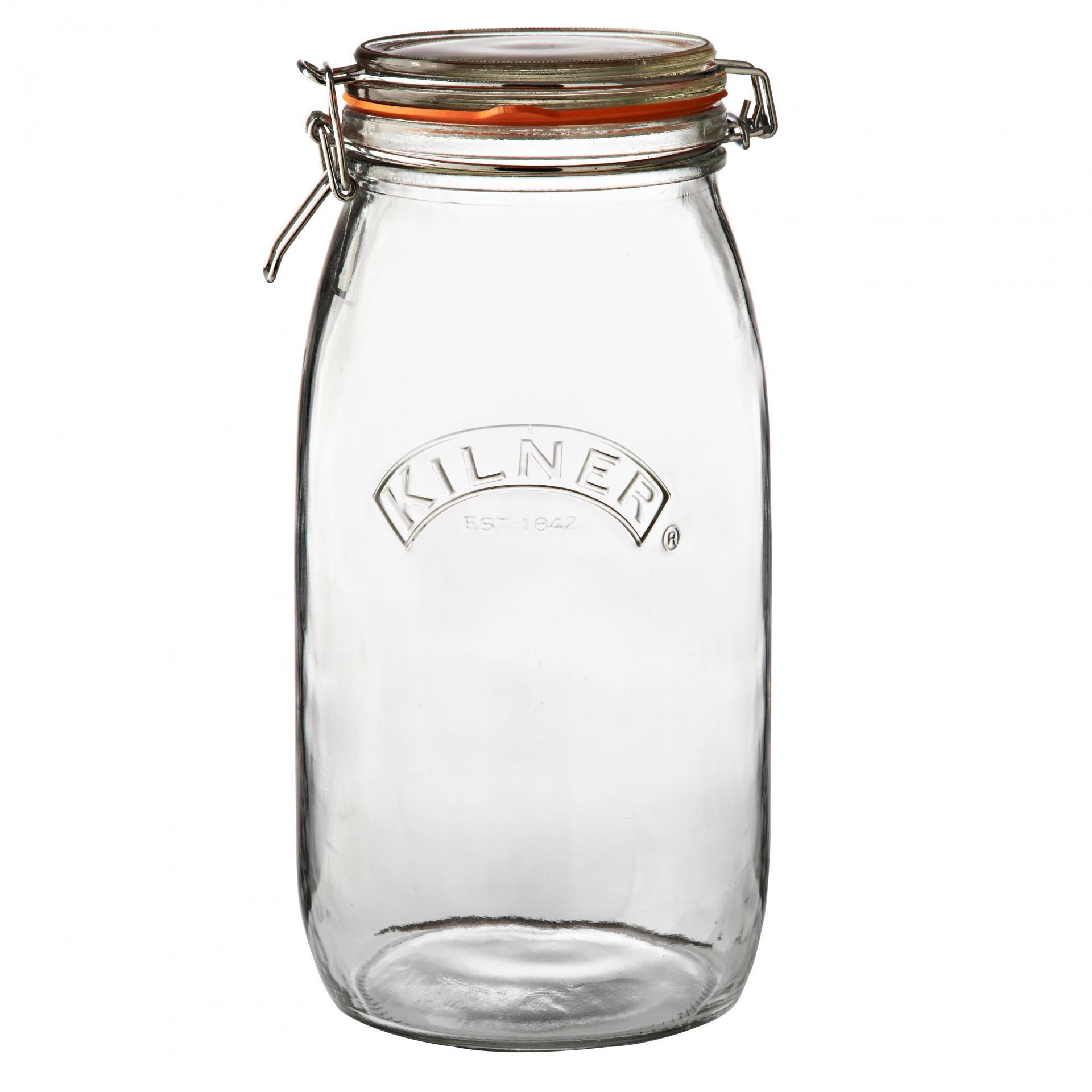 KILNER Kulatá zavařovací sklenice s klipem 3 l, čirá barva, sklo
