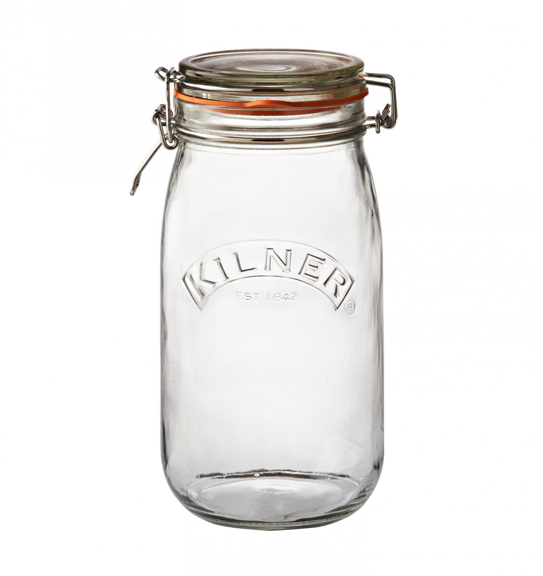 KILNER Kulatá zavařovací sklenice s klipem 1,5 l, čirá barva, sklo