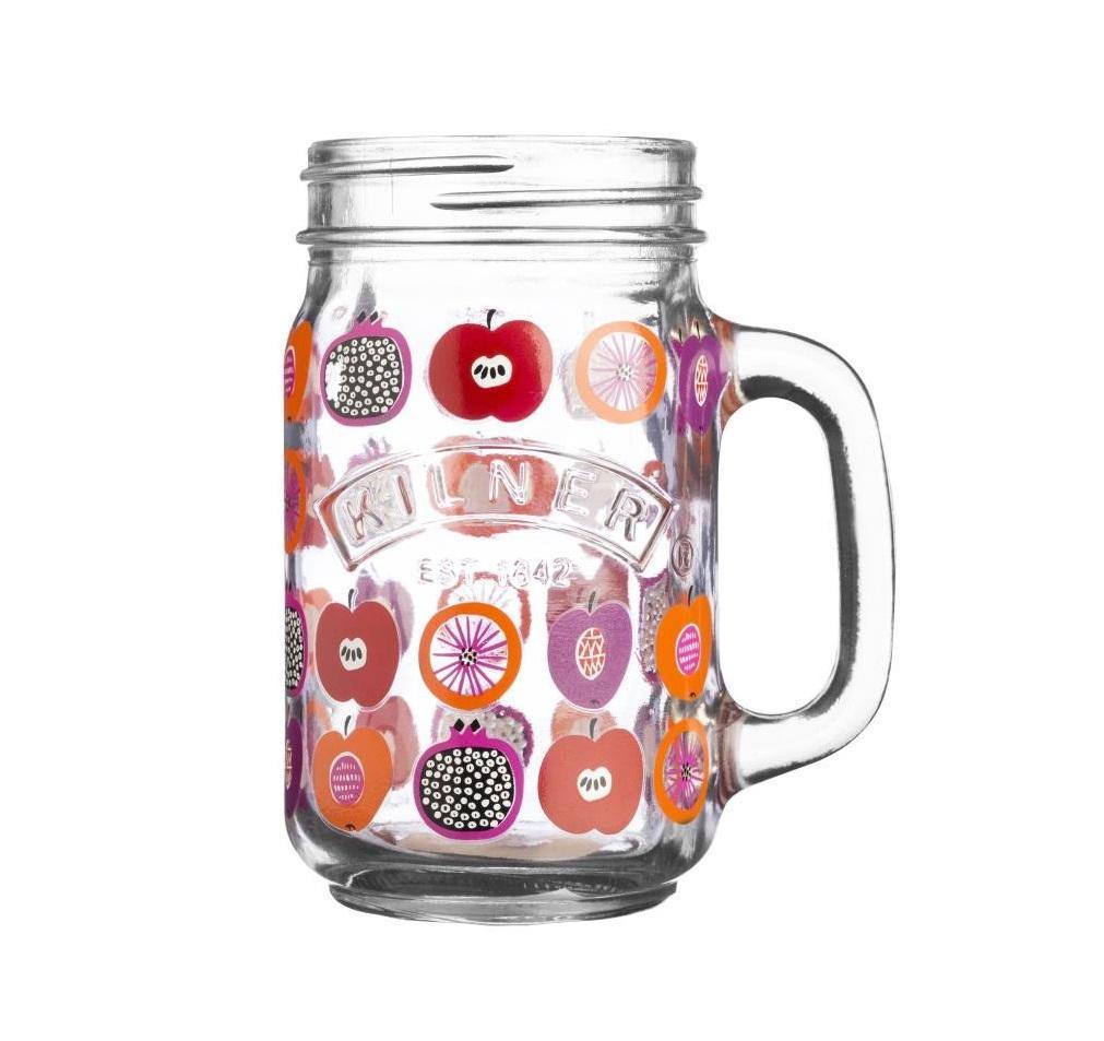 KILNER Sklenice s uchem Fruits 400 ml, růžová barva, fialová barva, oranžová barva, čirá barva, sklo