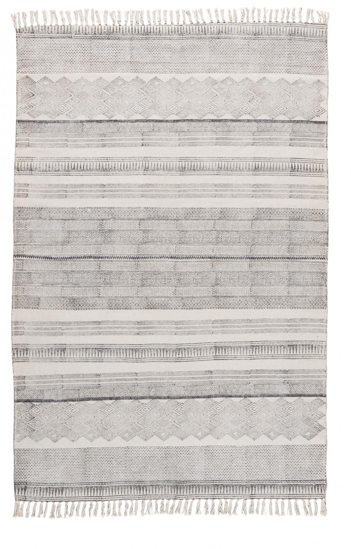 IB LAURSEN Bavlněný koberec Block black 120x180