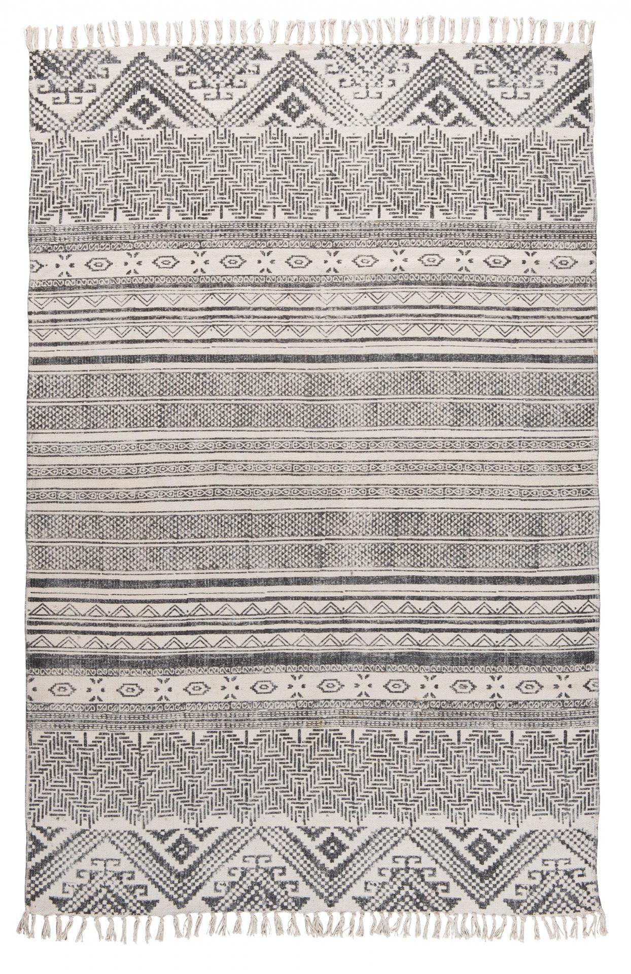 IB LAURSEN Bavlněný koberec Black block 120x180