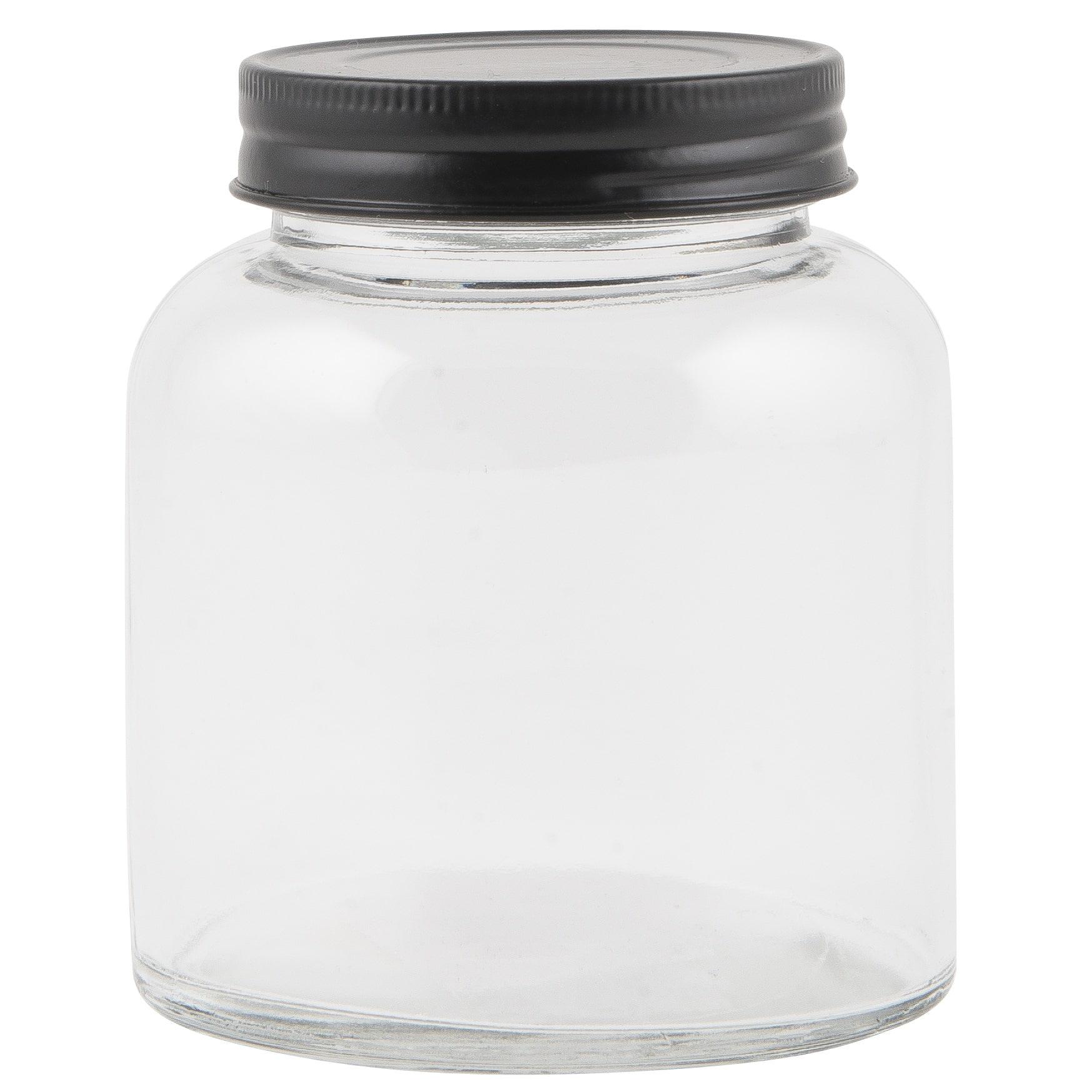 IB LAURSEN Skleněná dózička na koření - 300 ml, černá barva, čirá barva, sklo, kov