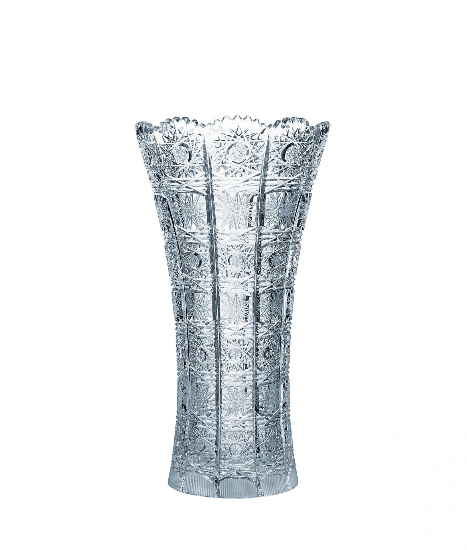 CRYSTAL BOHEMIA Křišťálová broušená váza Crystal BOHEMIA 25 cm, čirá barva, sklo