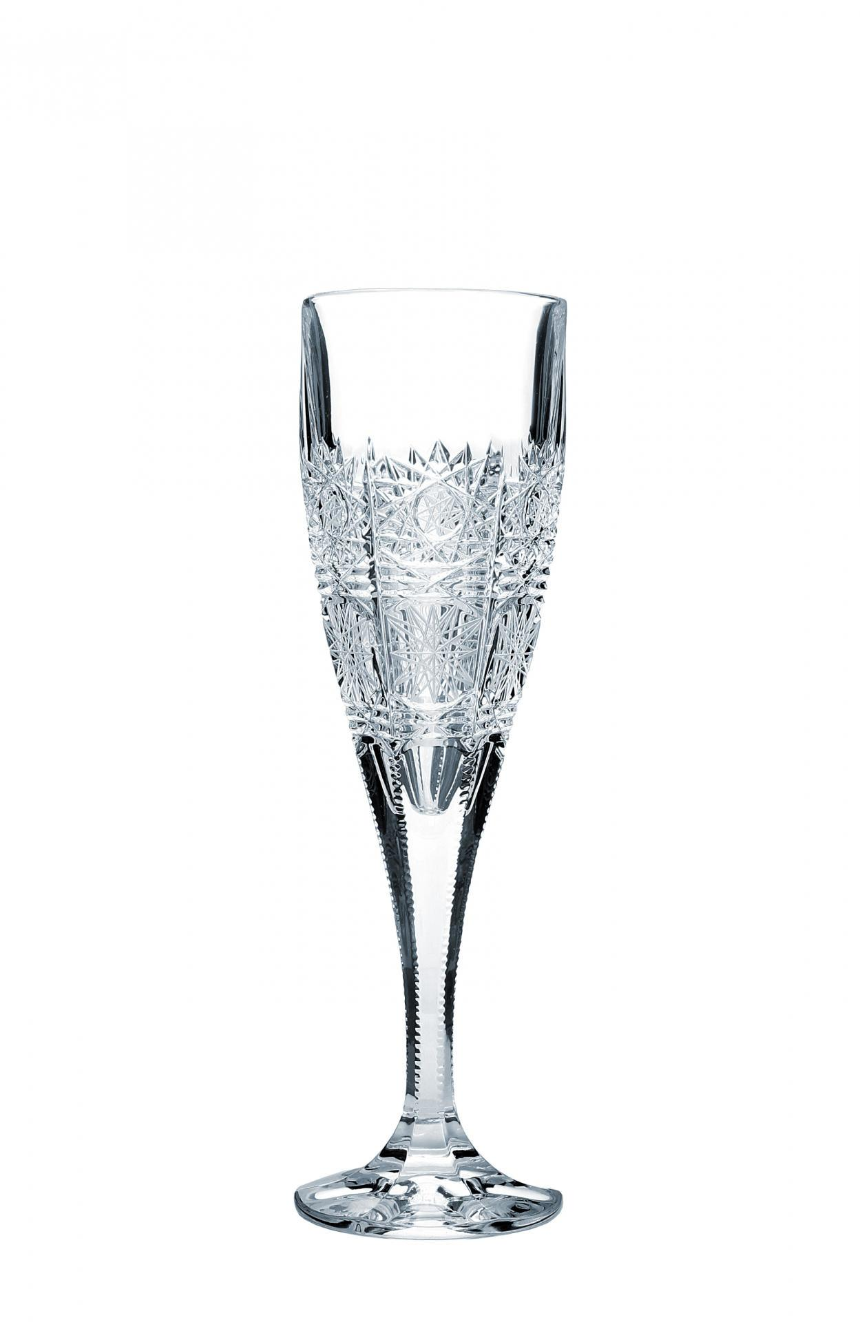 CRYSTAL BOHEMIA Broušená křišťálová sklenička na sekt Crystal BOHEMIA, čirá barva, sklo