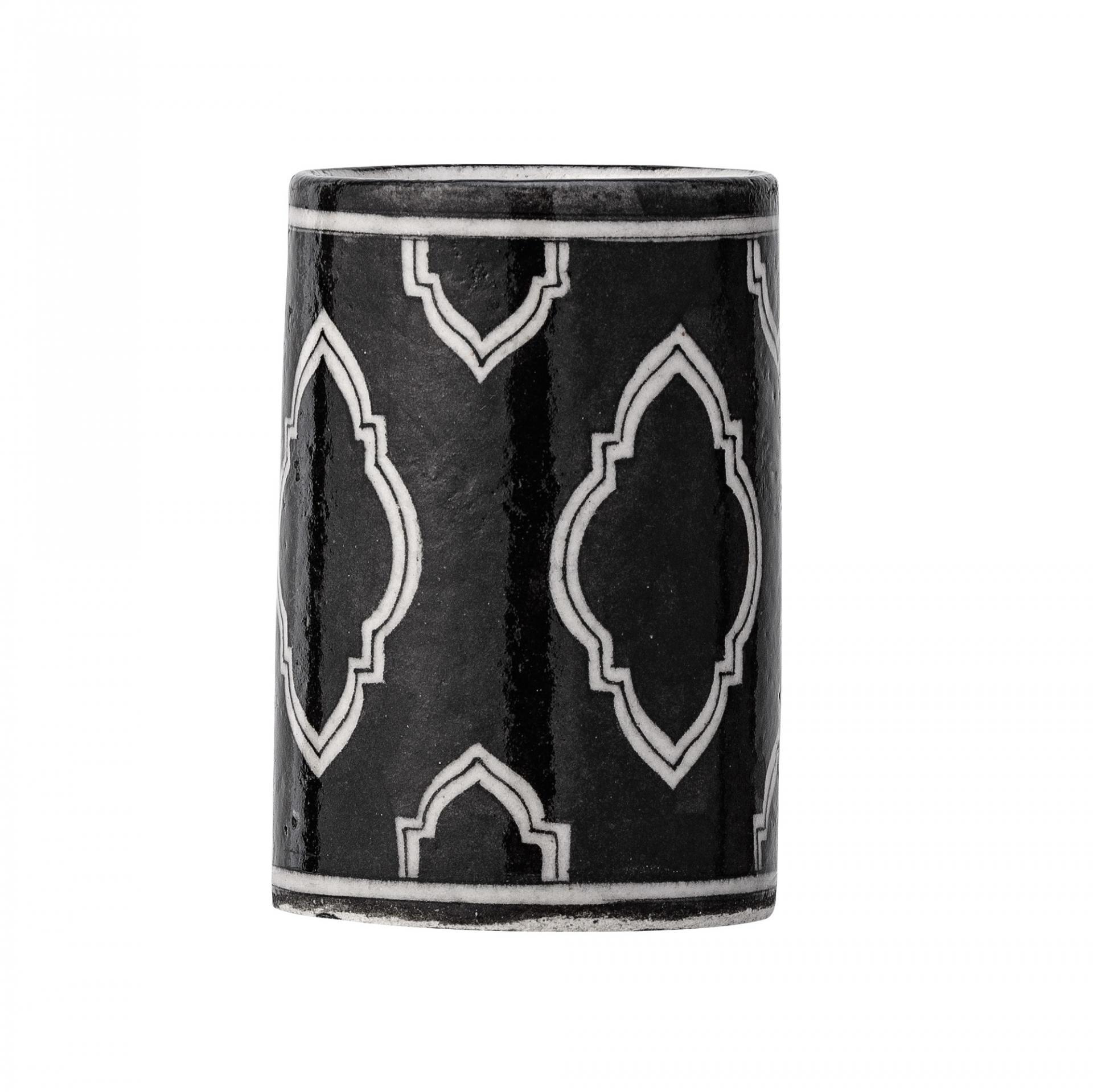 Keramický kelímek na kartáčky Handpainted, černá barva, bílá barva, keramika