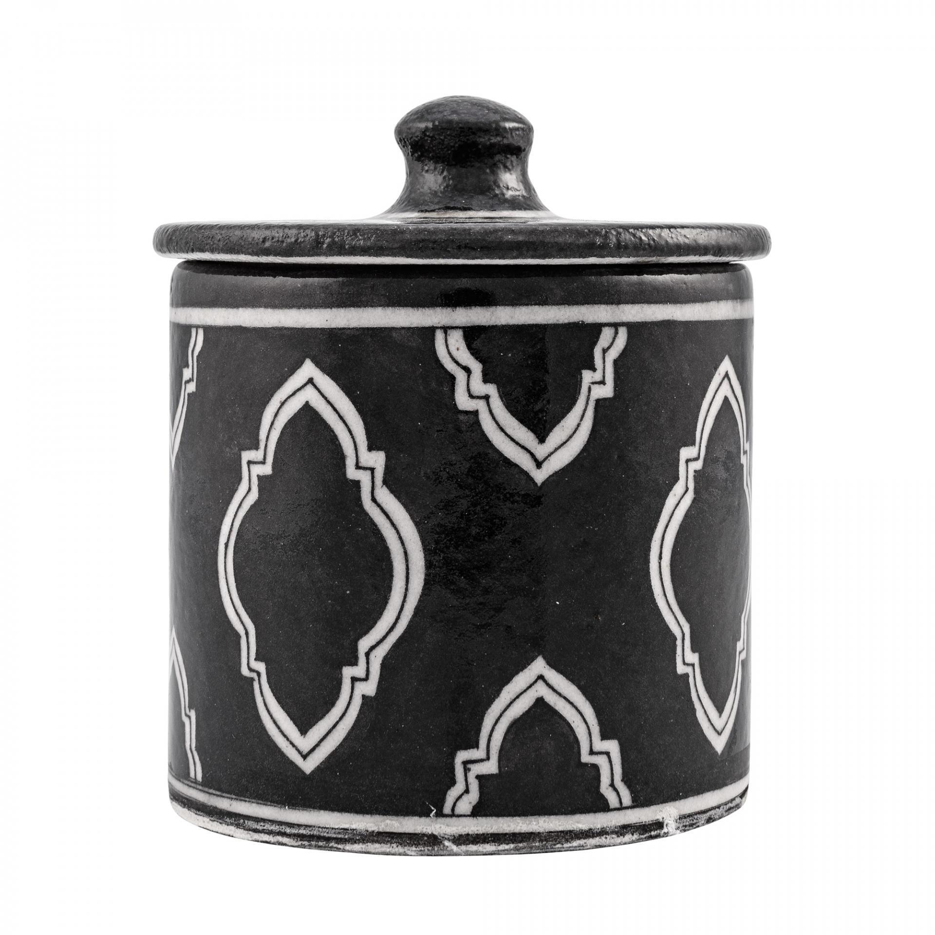 Keramická dózička do koupelny Handpainted, černá barva, bílá barva, keramika