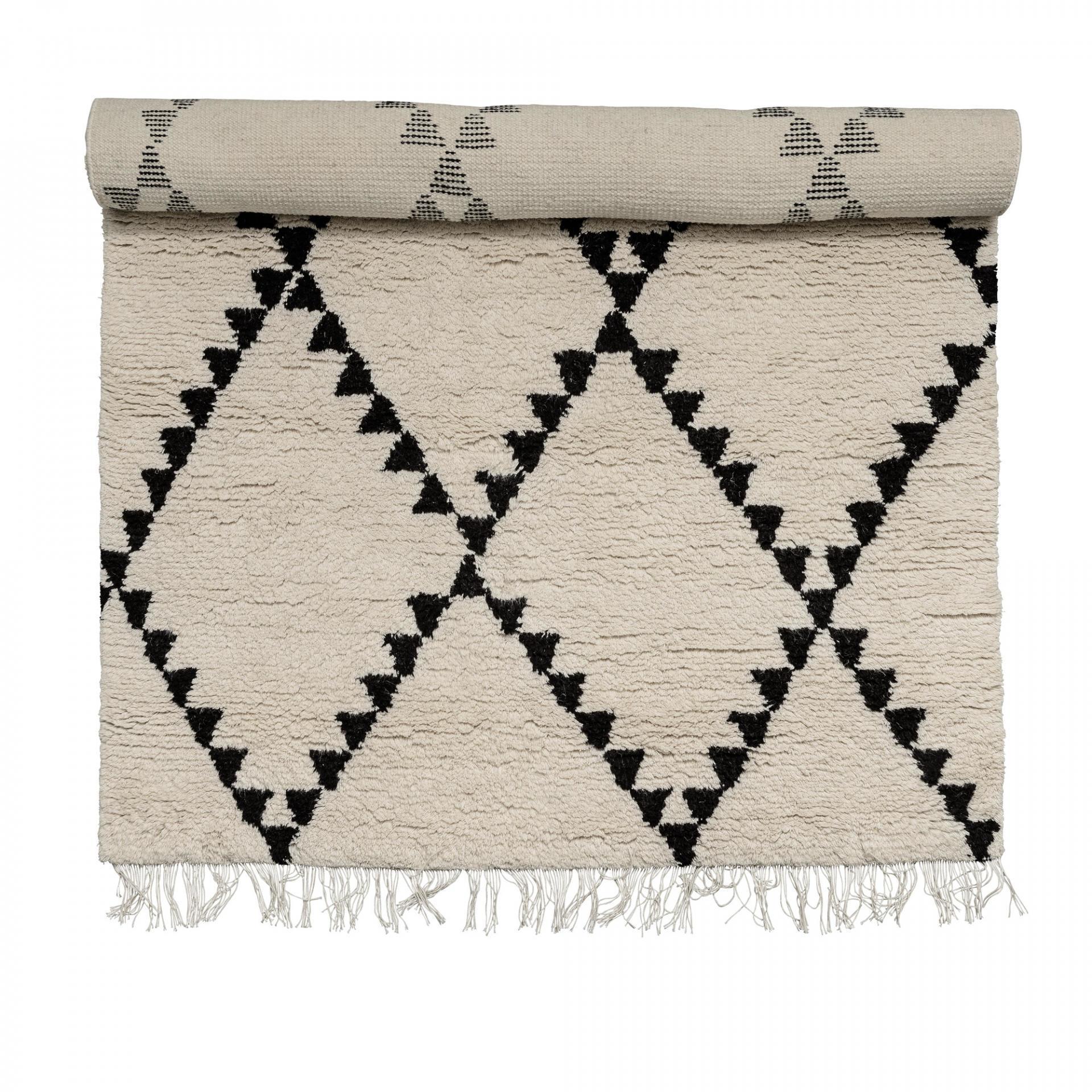 Vlněný koberec Triangle 140x200 cm, černá barva, bílá barva, textil Bílá