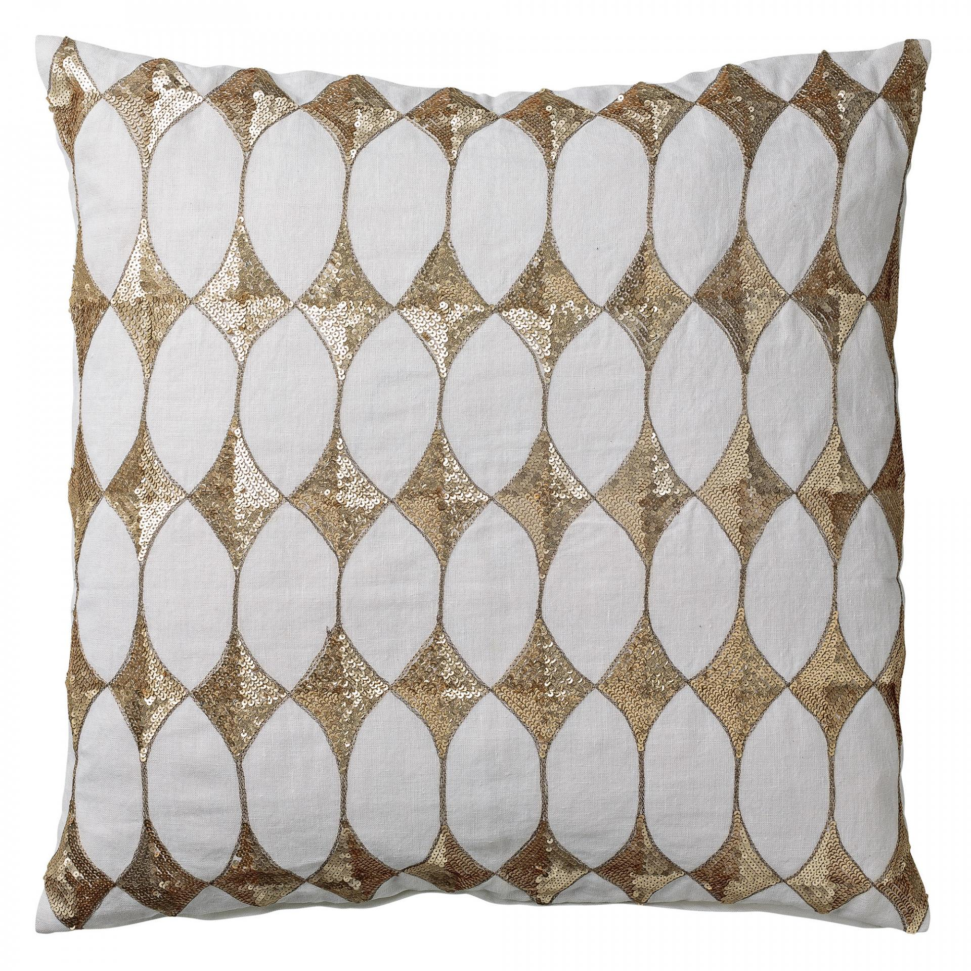 Lněný povlak na polštář Harlequin White 50x50 cm, bílá barva, zlatá barva, textil