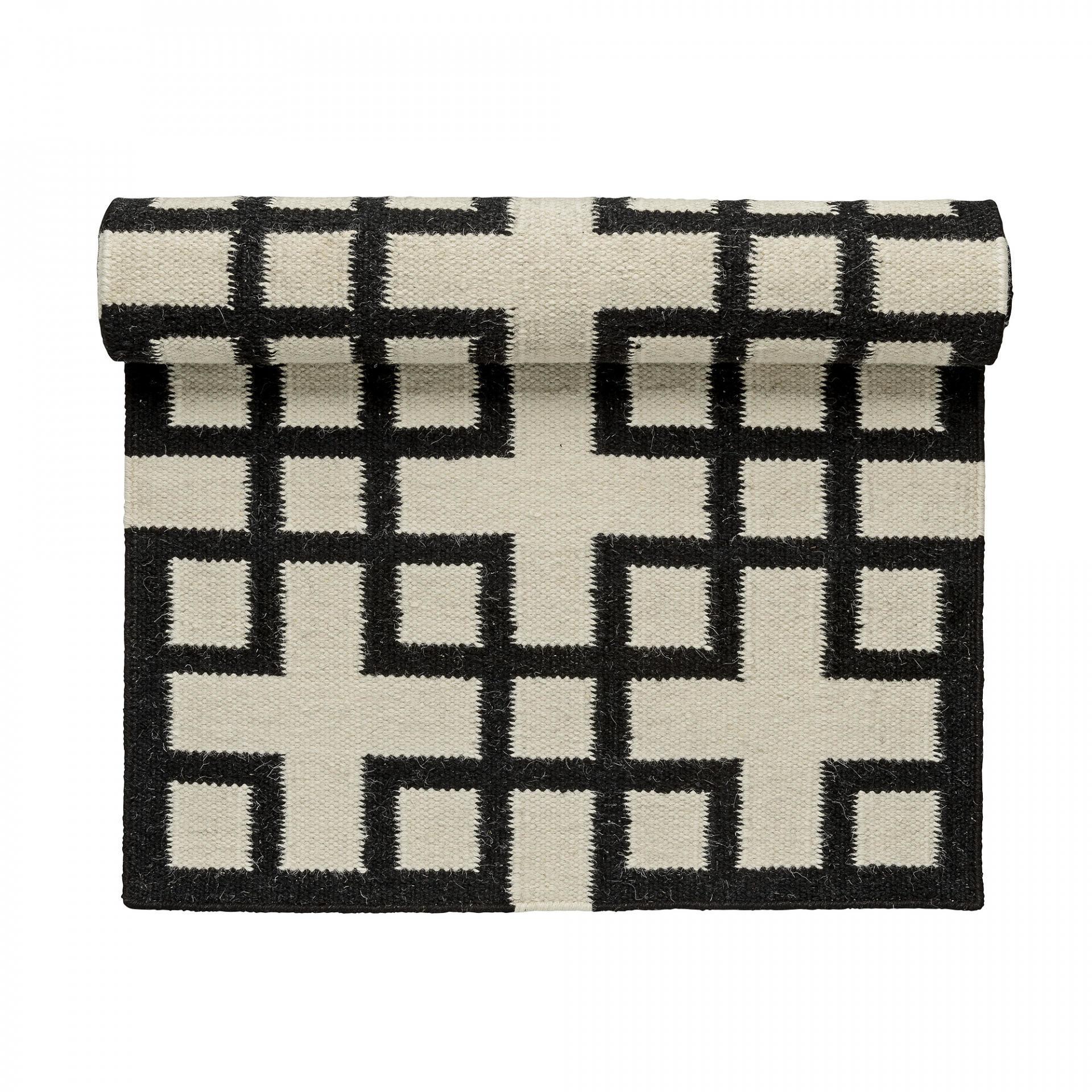 Vlněný koberec Mono 140x200 cm, černá barva, bílá barva, textil Bílá