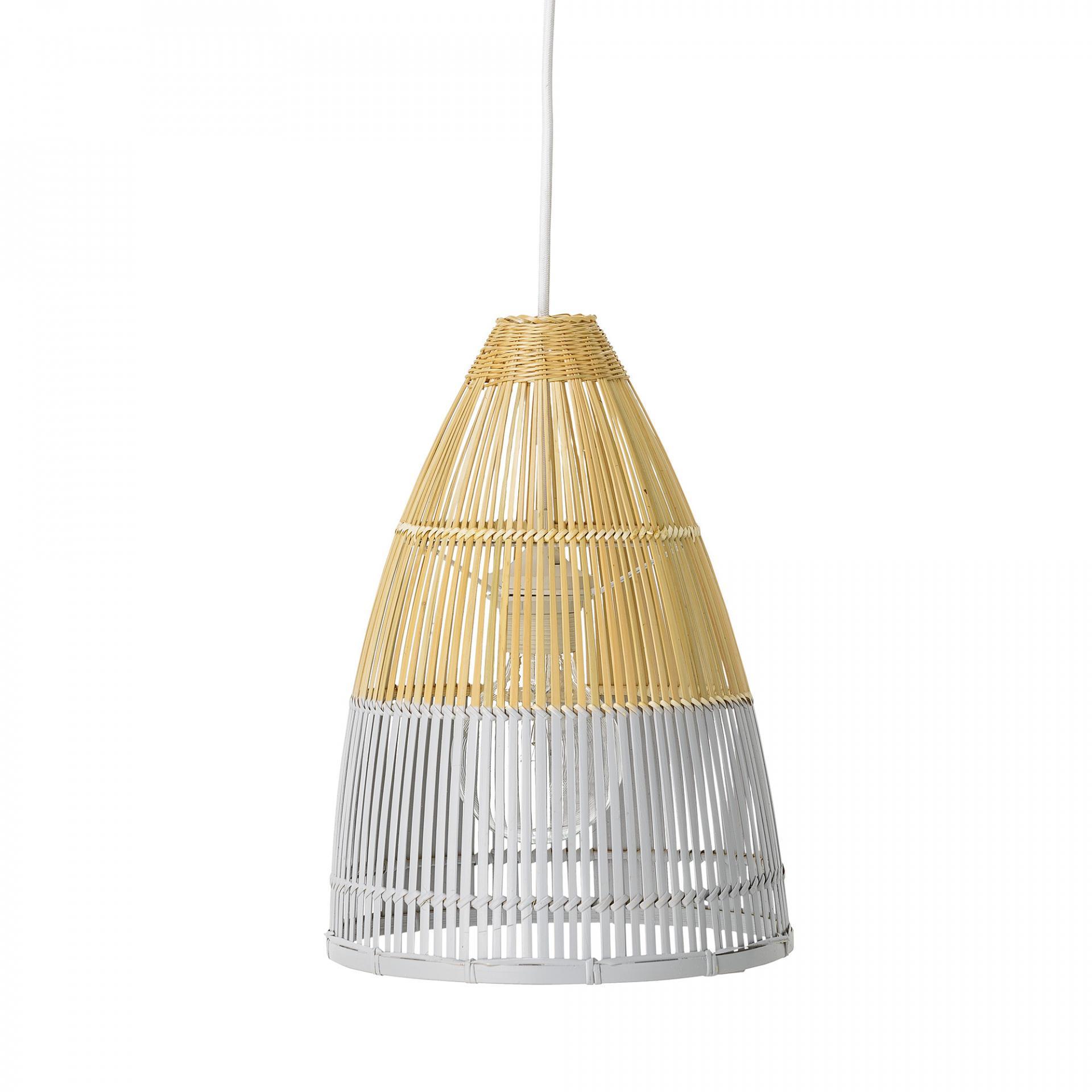 Bloomingville Závěsná bambusová lampa Nature/Cool grey, šedá barva, proutí