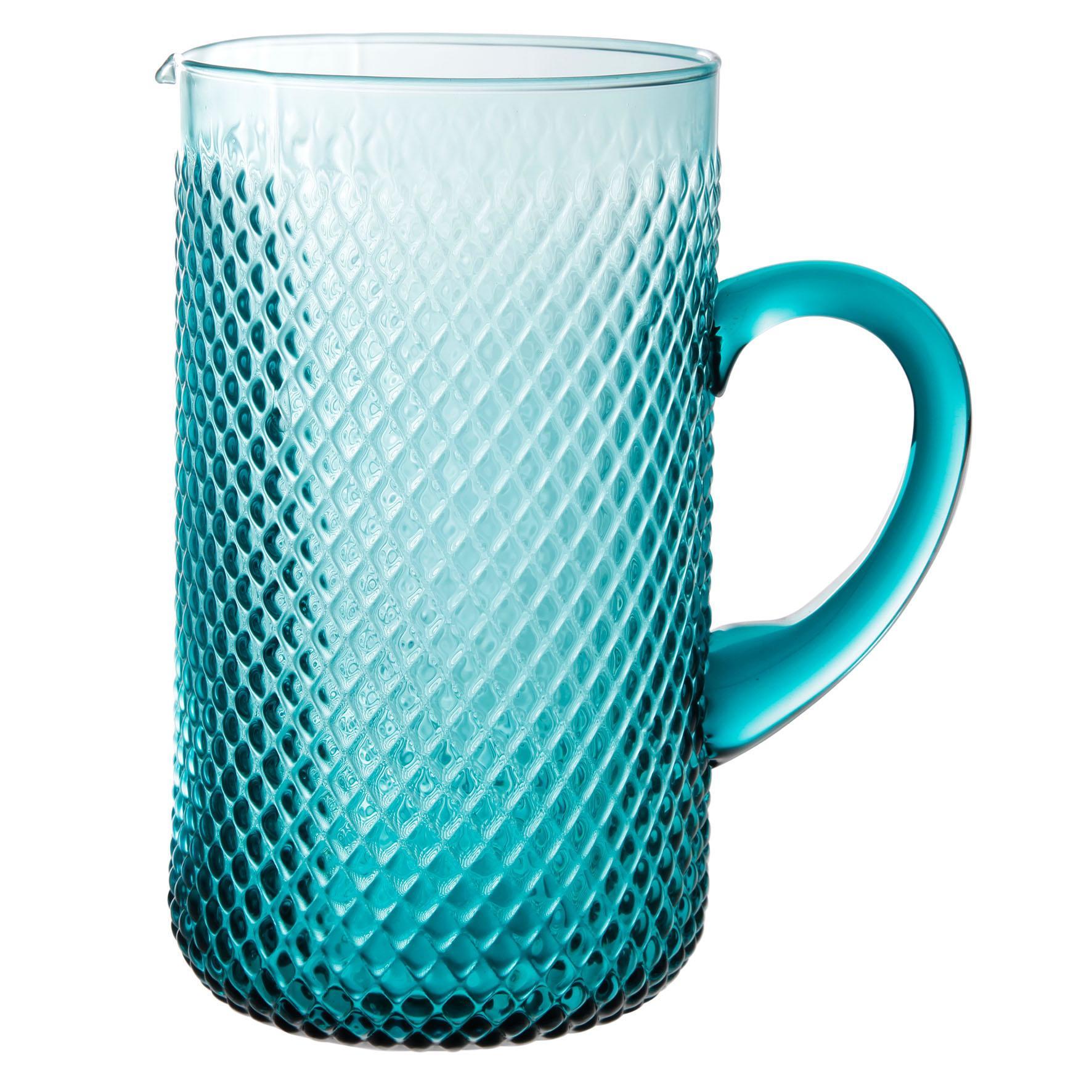 CÔTÉ TABLE Skleněný džbán Turquoise 1,5L, modrá barva, zelená barva, sklo