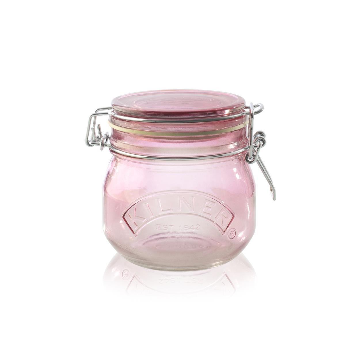 KILNER Skleněná dóza s klipem Pink 500 ml, růžová barva, sklo