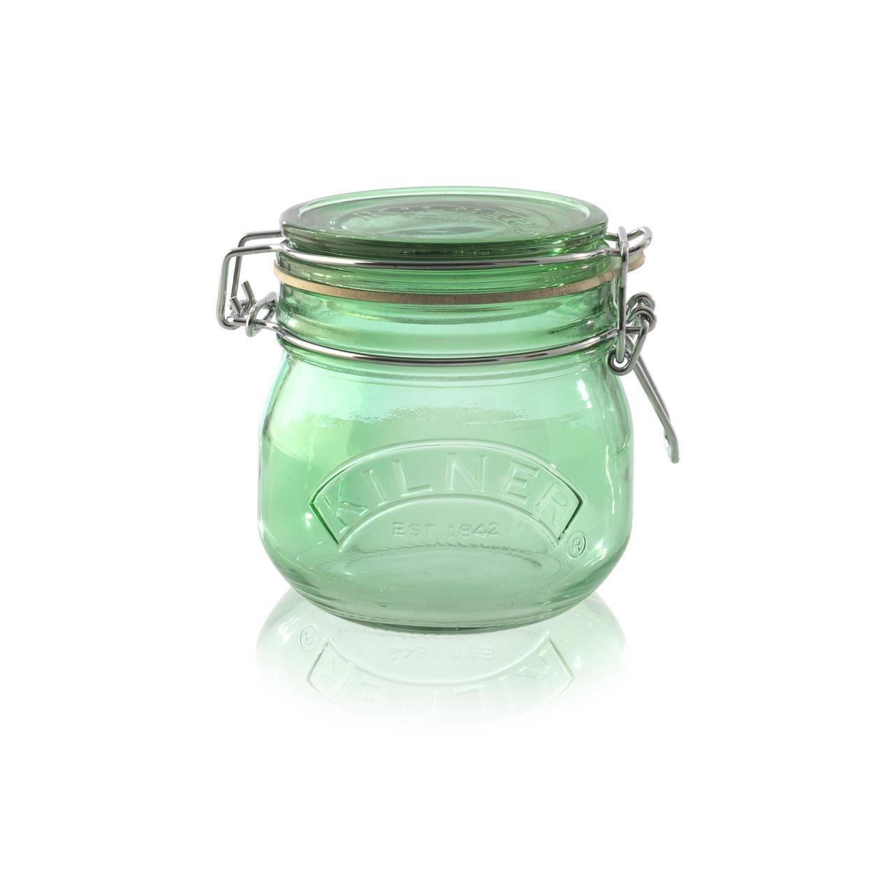 KILNER Skleněná dóza s klipem Green 500 ml, zelená barva, sklo