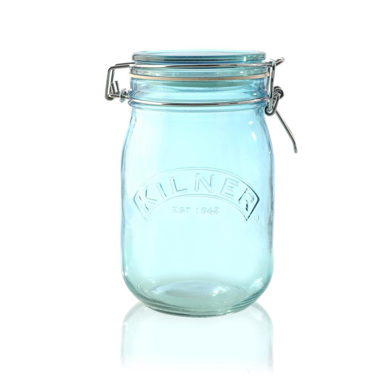 KILNER Skleněná dóza s klipem Blue 1 l, modrá barva, sklo
