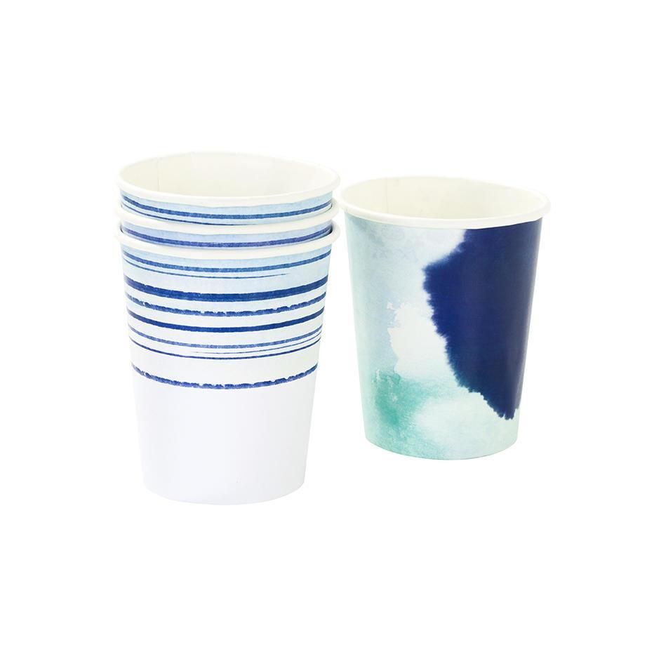 Talking Tables Papírové kelímky Coastal - set 12 ks, modrá barva, papír
