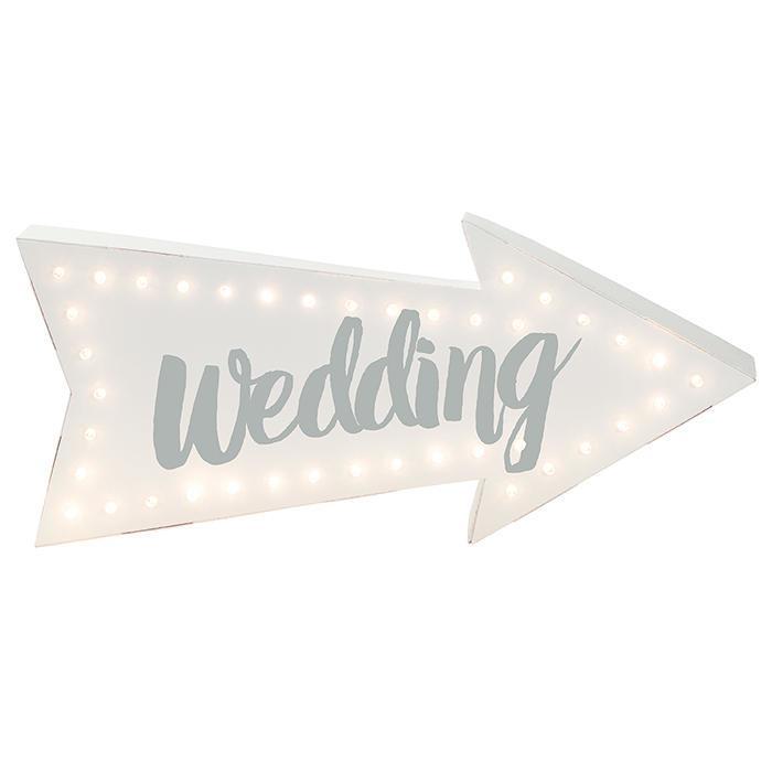 Talking Tables Papírová světelná LED cedule Wedding, bílá barva, stříbrná barva, papír