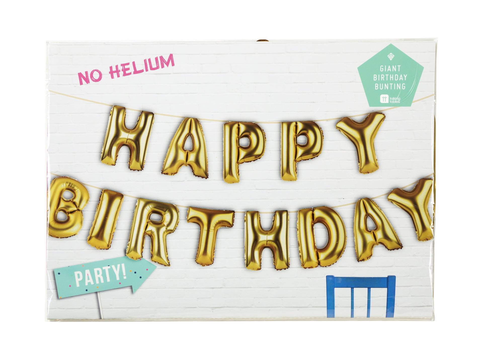 Talking Tables Nafukovací balónky HAPPY BIRTHDAY, zlatá barva, plast