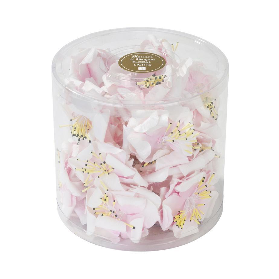 Talking Tables Dekorativní světelný LED řetěz s květinami Blossom, růžová barva