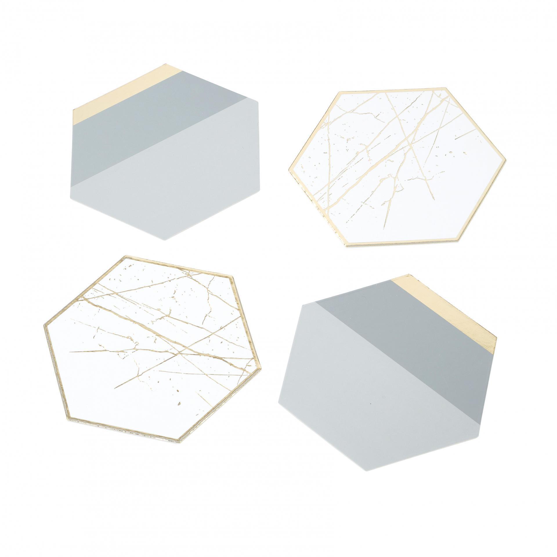 Talking Tables Podložky pod hrnky Modern Metallics - set 12 ks, šedá barva, zlatá barva, papír