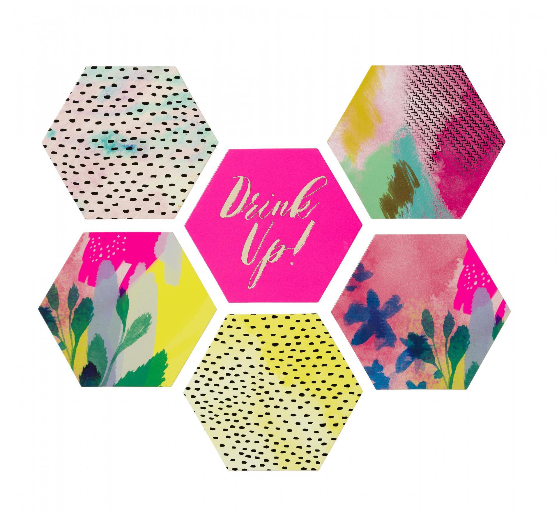 Talking Tables Podložky pod hrnky Fluorescent - set 12 ks, růžová barva, multi barva, papír